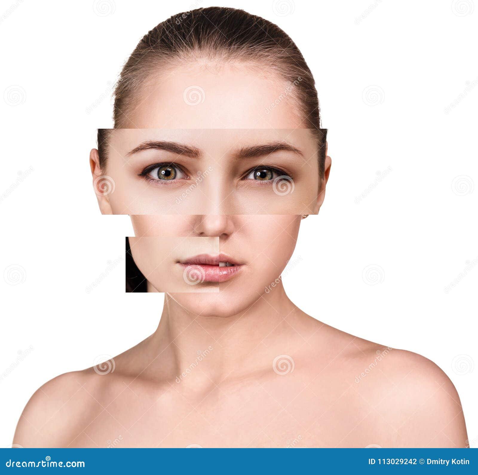 La cara de la mujer hermosa recogió de diversas piezas