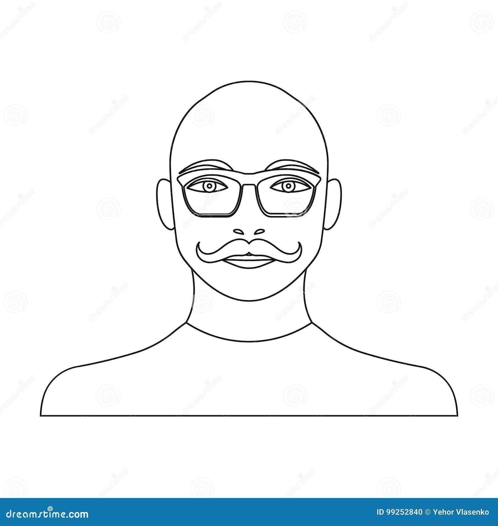 La cara de un hombre calvo con un bigote en vidrios Cara y aspecto en la acción del símbolo del vector