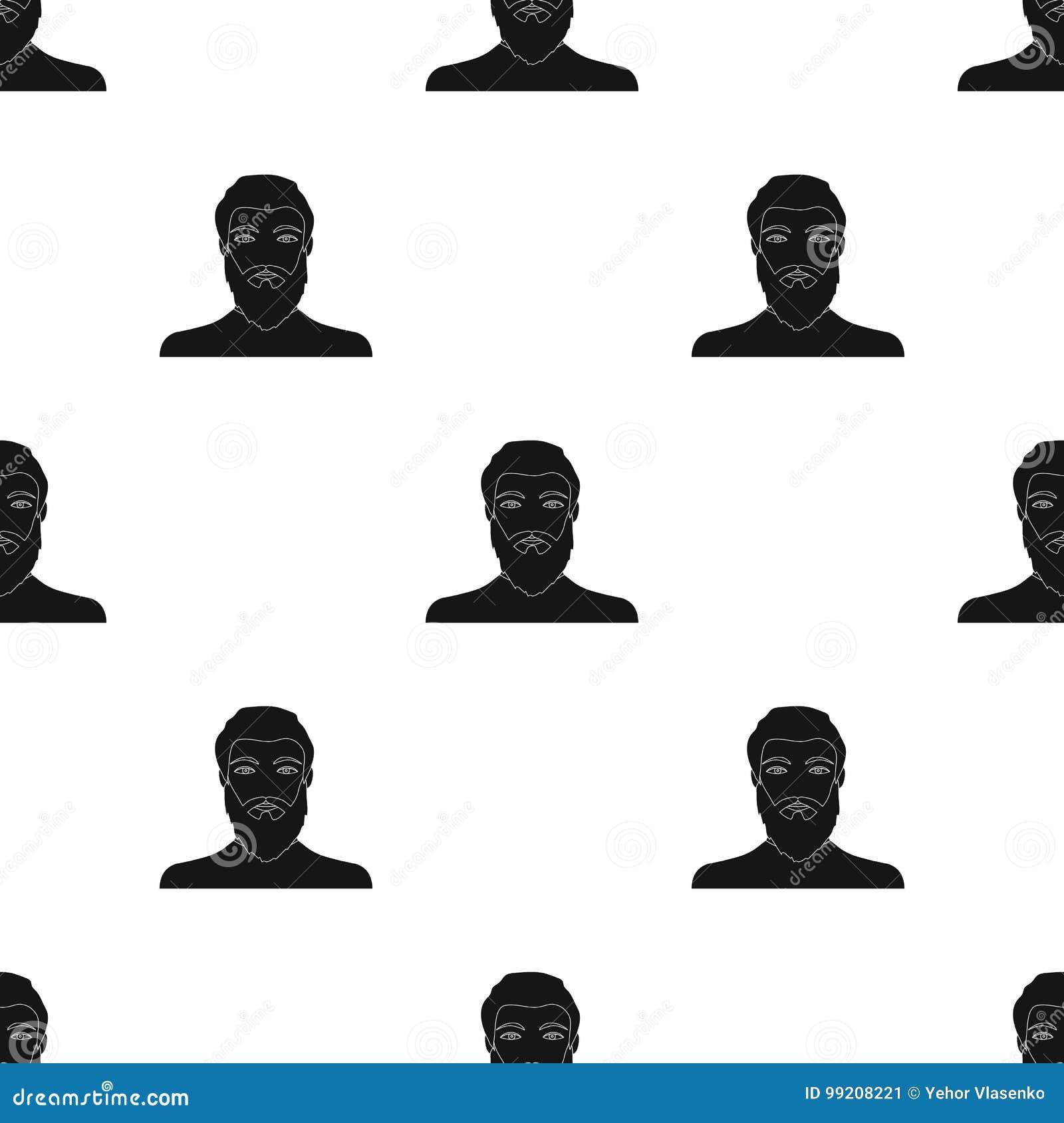 La cara de un hombre con una barba y un bigote La cara e icono del aspecto el solo en estilo negro vector la acción del símbolo