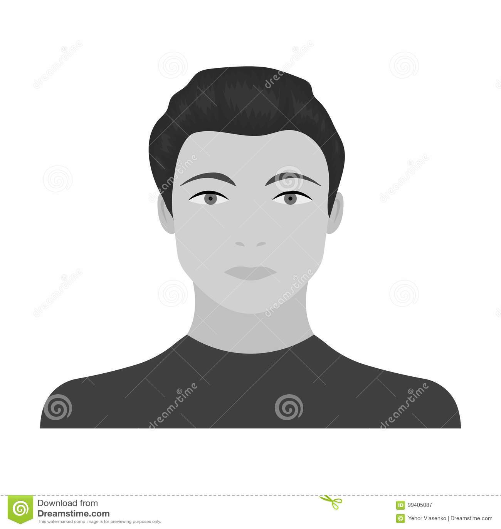 La cara de un individuo joven La cara e icono del aspecto el solo en estilo monocromático vector el web común del ejemplo del sím