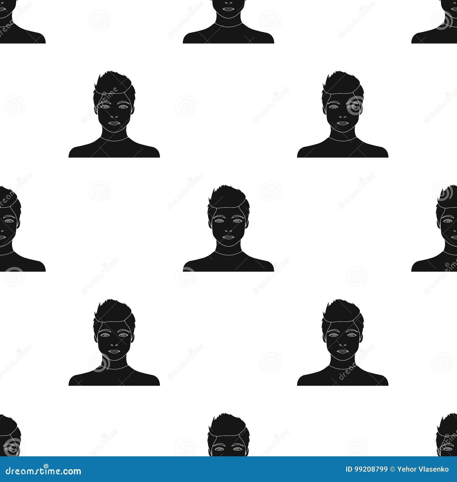 La cara de un individuo joven La cara e icono del aspecto el solo en estilo negro vector el web común del ejemplo del símbolo
