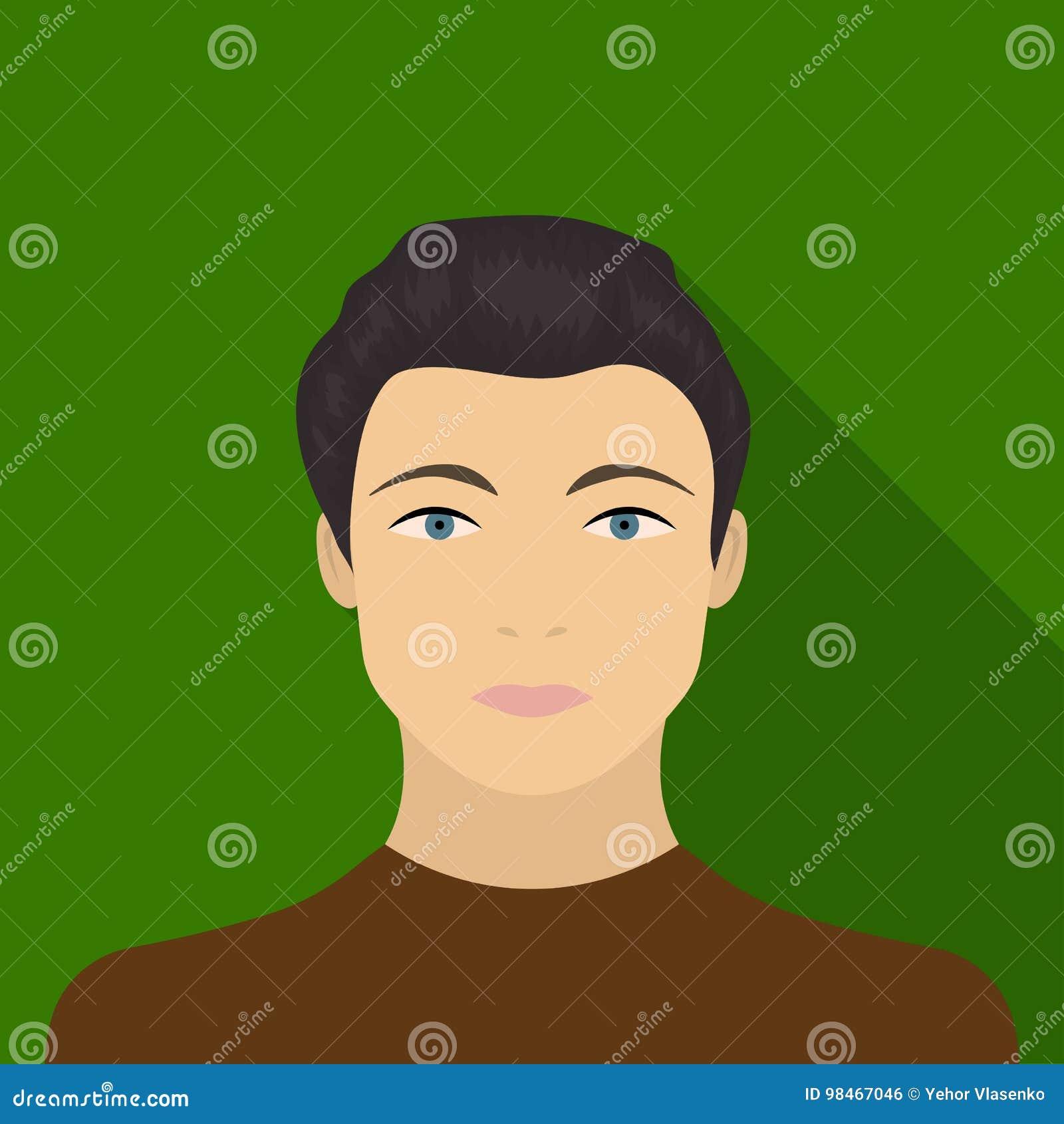 La cara de un individuo joven La cara e icono del aspecto el solo en estilo plano vector el web común del ejemplo del símbolo