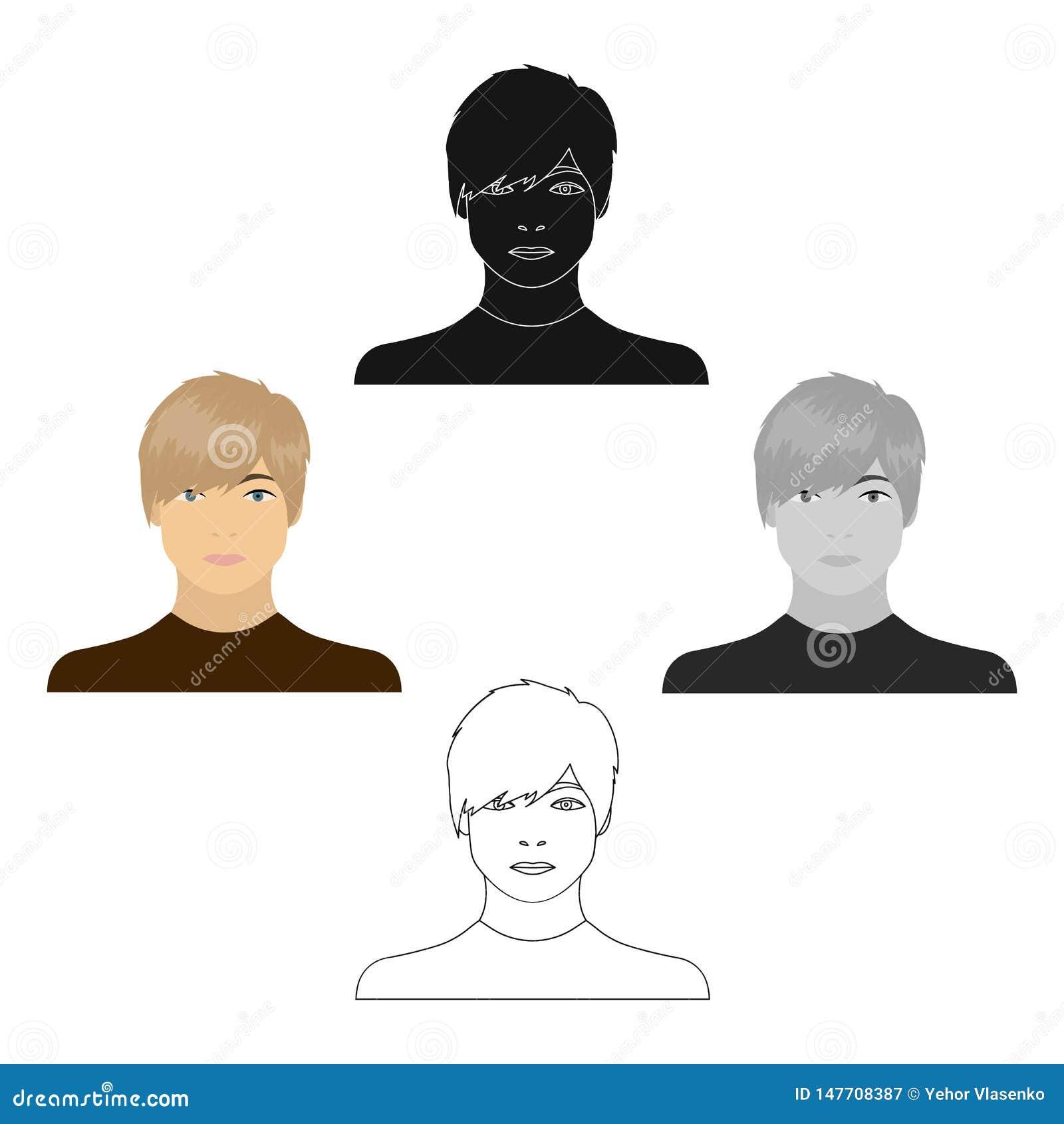 La cara de un individuo joven Cara e icono del aspecto solo en la historieta, web negra del ejemplo de la acción del símbolo del