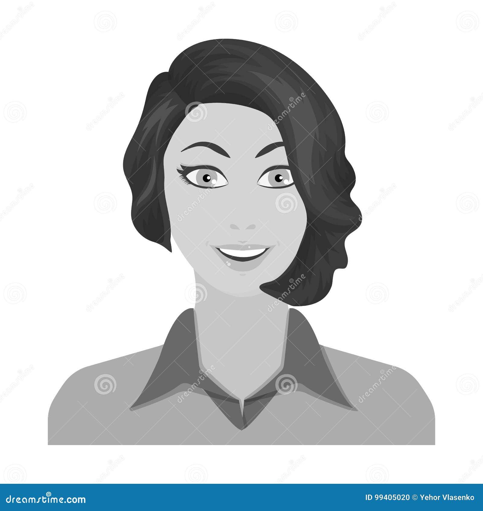 La cara de una mujer con un peinado La cara e icono del aspecto el solo en estilo monocromático vector el ejemplo común del símbo