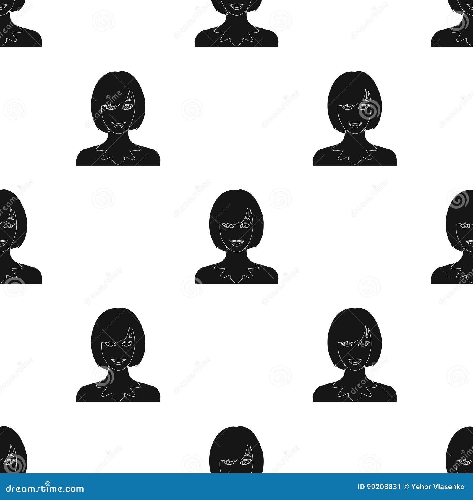 La cara de una mujer con un peinado La cara e icono del aspecto el solo en estilo negro vector el web común del ejemplo del símbo