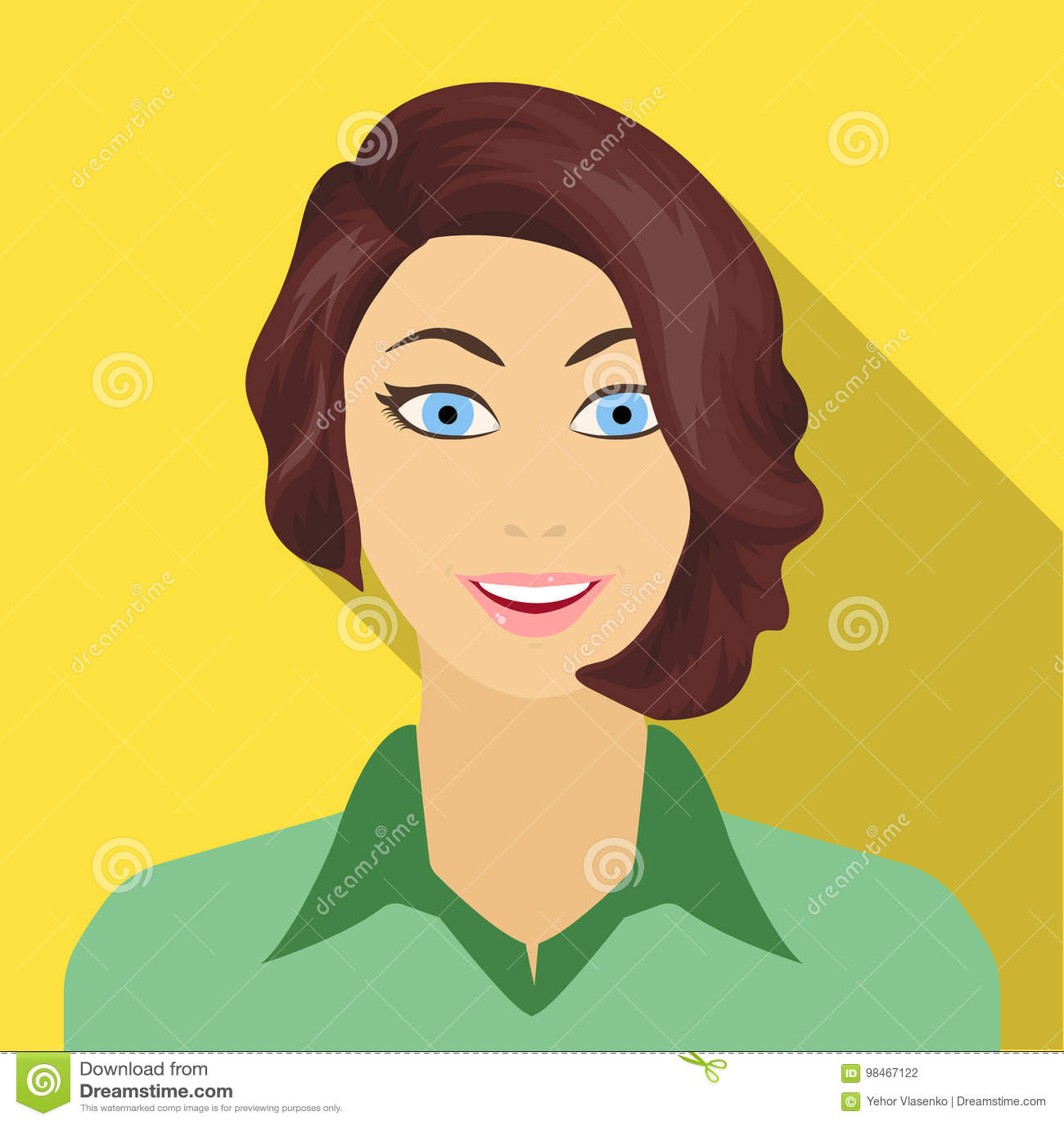 La cara de una mujer con un peinado La cara e icono del aspecto el solo en estilo plano vector el web común del ejemplo del símbo