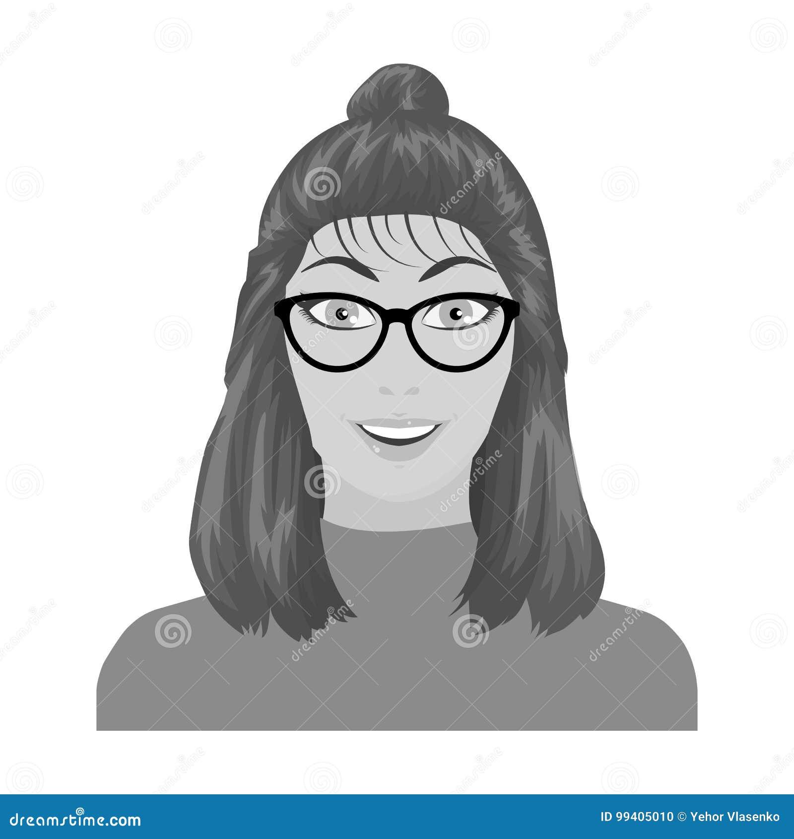 La cara del ` s de la muchacha está llevando los vidrios La cara e icono del aspecto el solo en estilo monocromático vector el ej