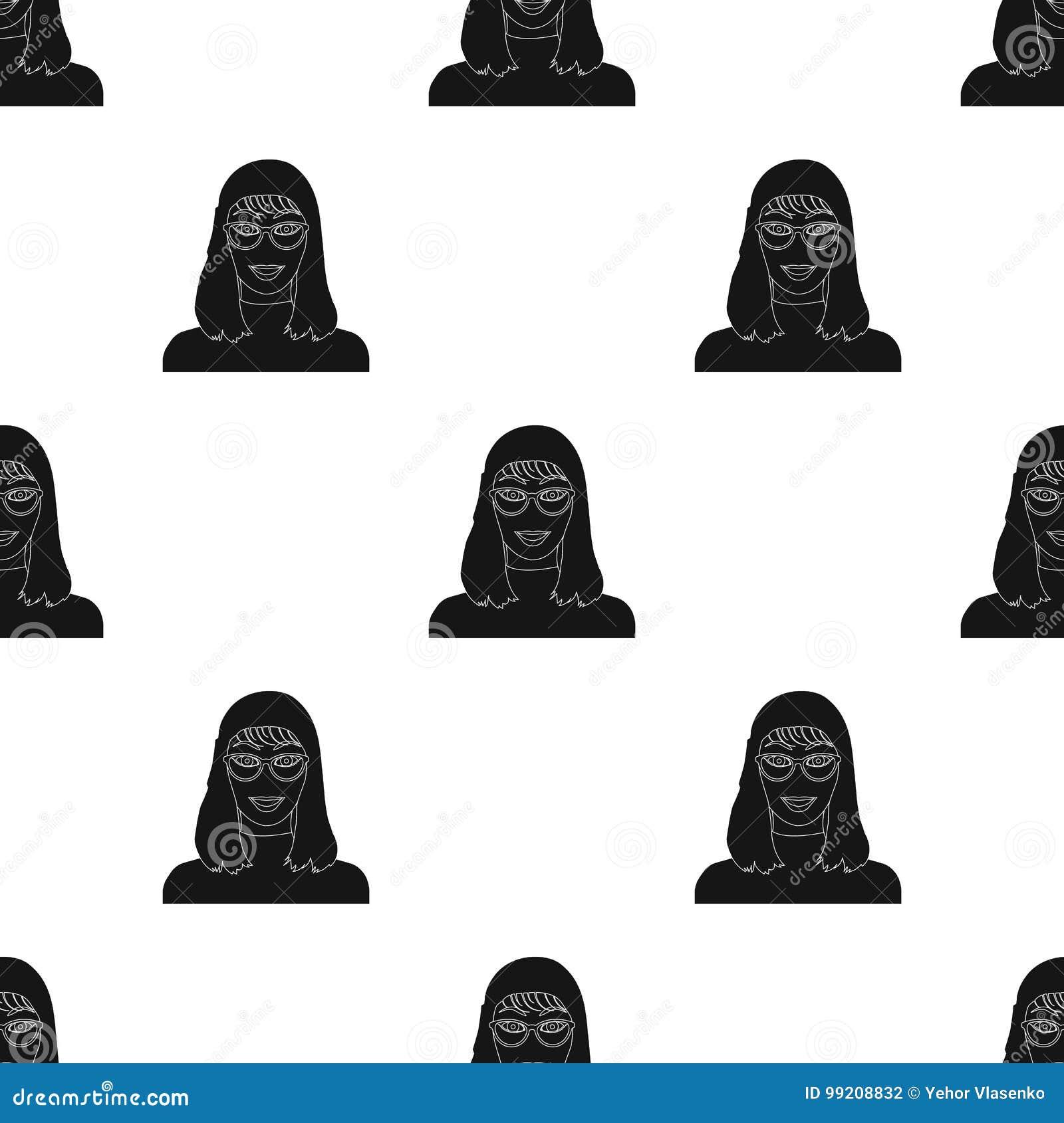 La cara del ` s de la muchacha está llevando los vidrios La cara e icono del aspecto el solo en estilo negro vector el web común