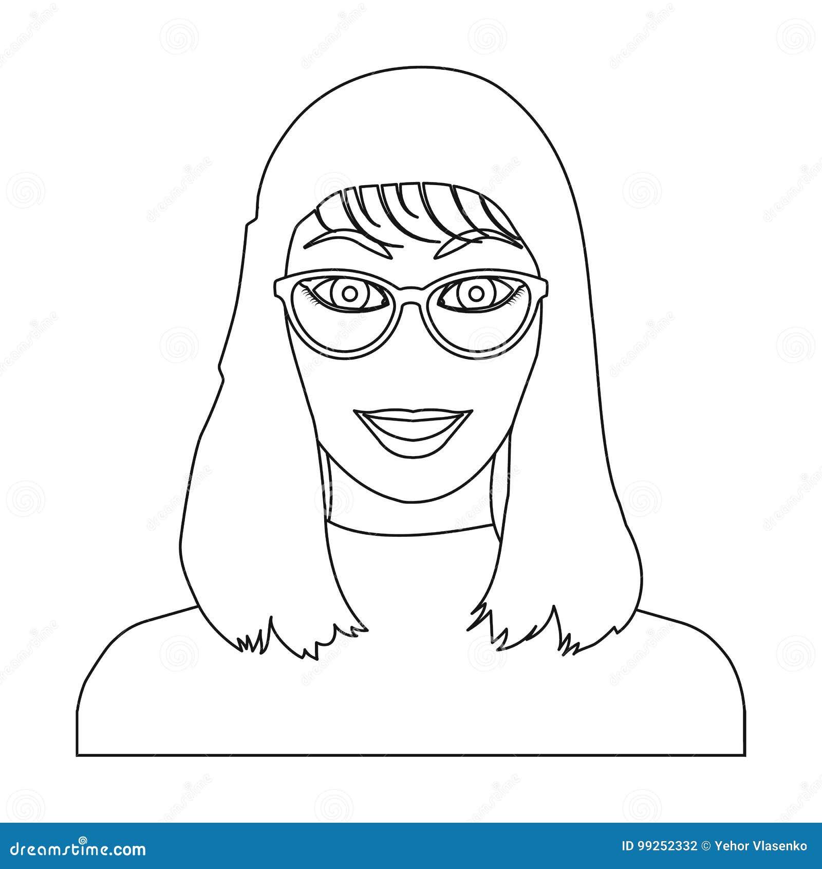 La cara del ` s de la muchacha está llevando los vidrios La cara y el aspecto en símbolo del vector almacenan el ejemplo