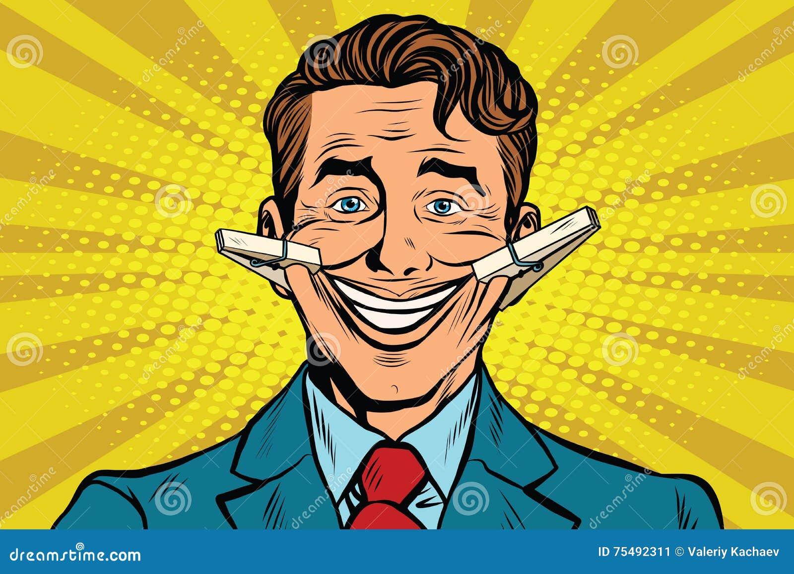 La Cara Falsa De La Sonrisa Con Las Pinzas Ilustración del Vector - Ilustración de arte, hombre: 75492311