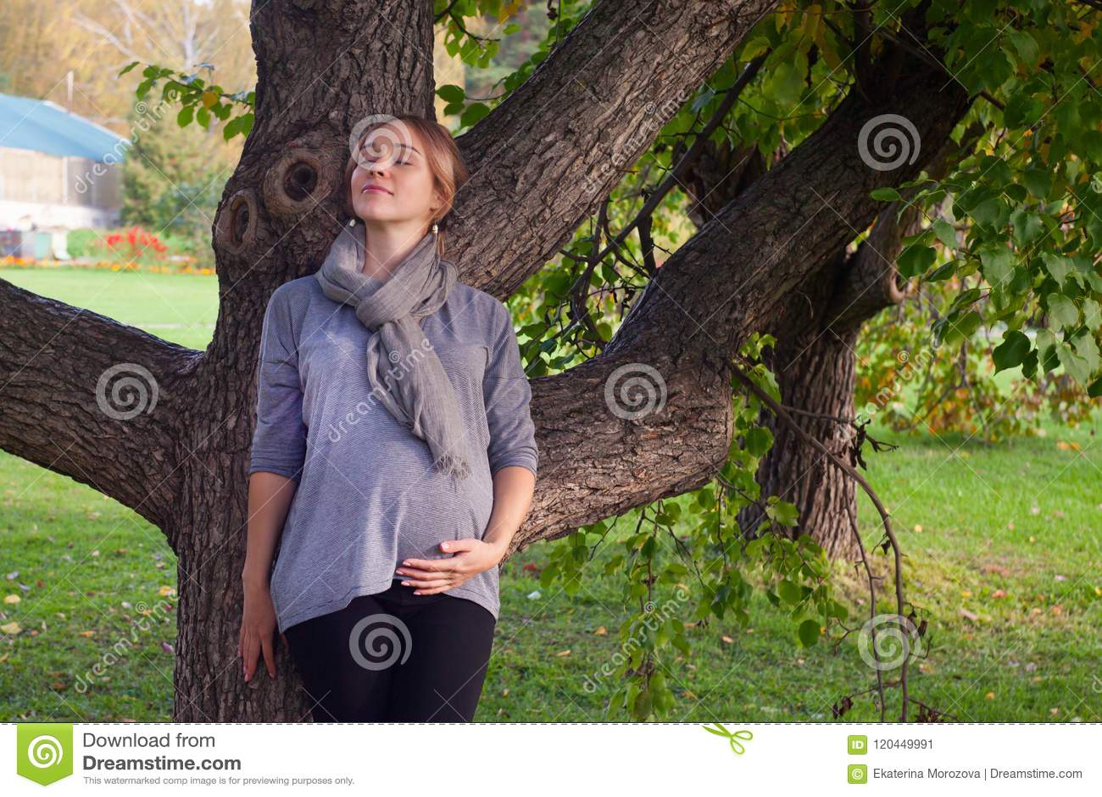 La cara femenina, primer cerrado de los ojos, mujer embarazada de A que se colocaba solamente en el parque, ojos de la melancolía