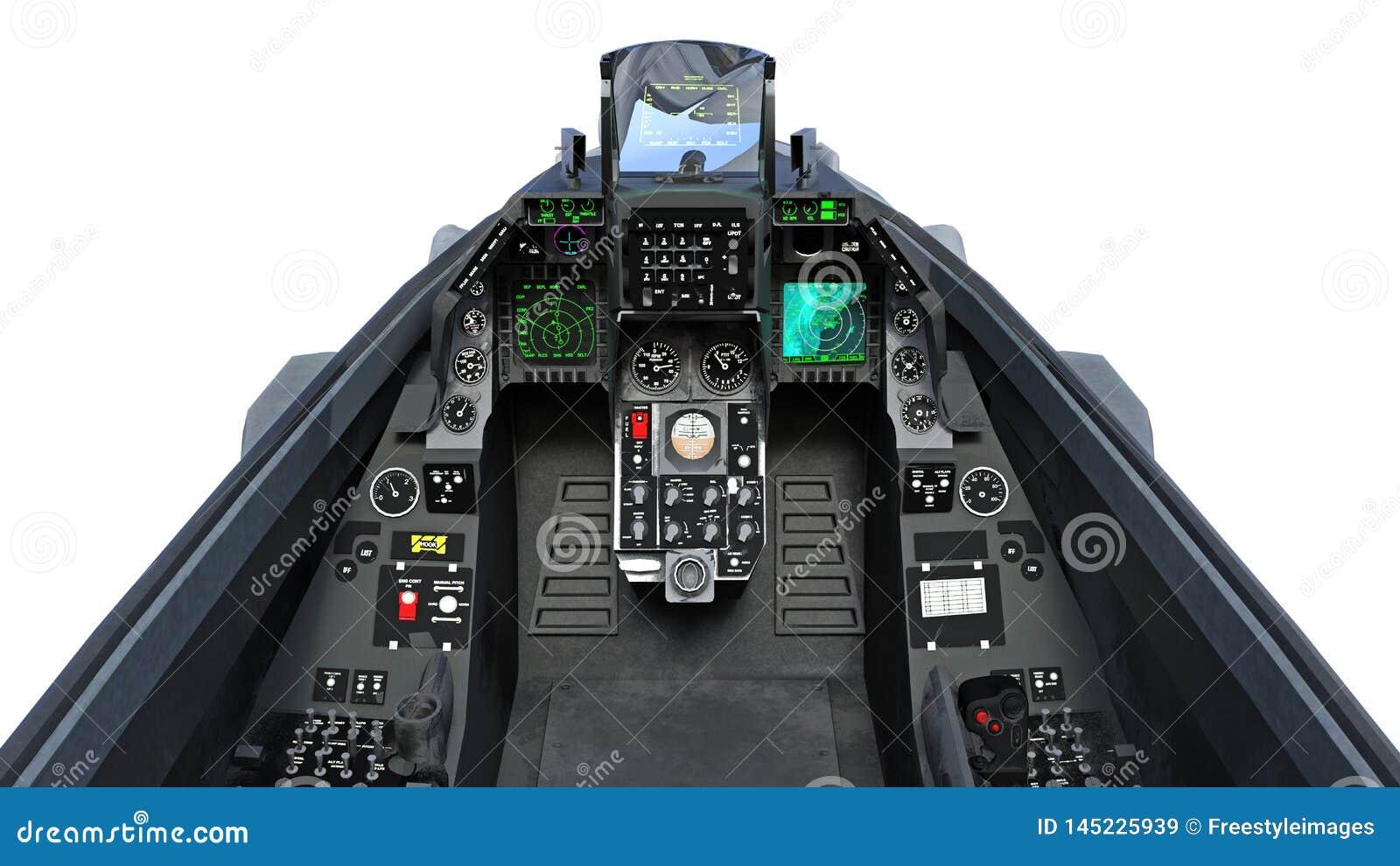 La carlinga del avión del avión de combate en vuelo, los aviones militares, aeroplano del ejército aislado en el fondo blanco,