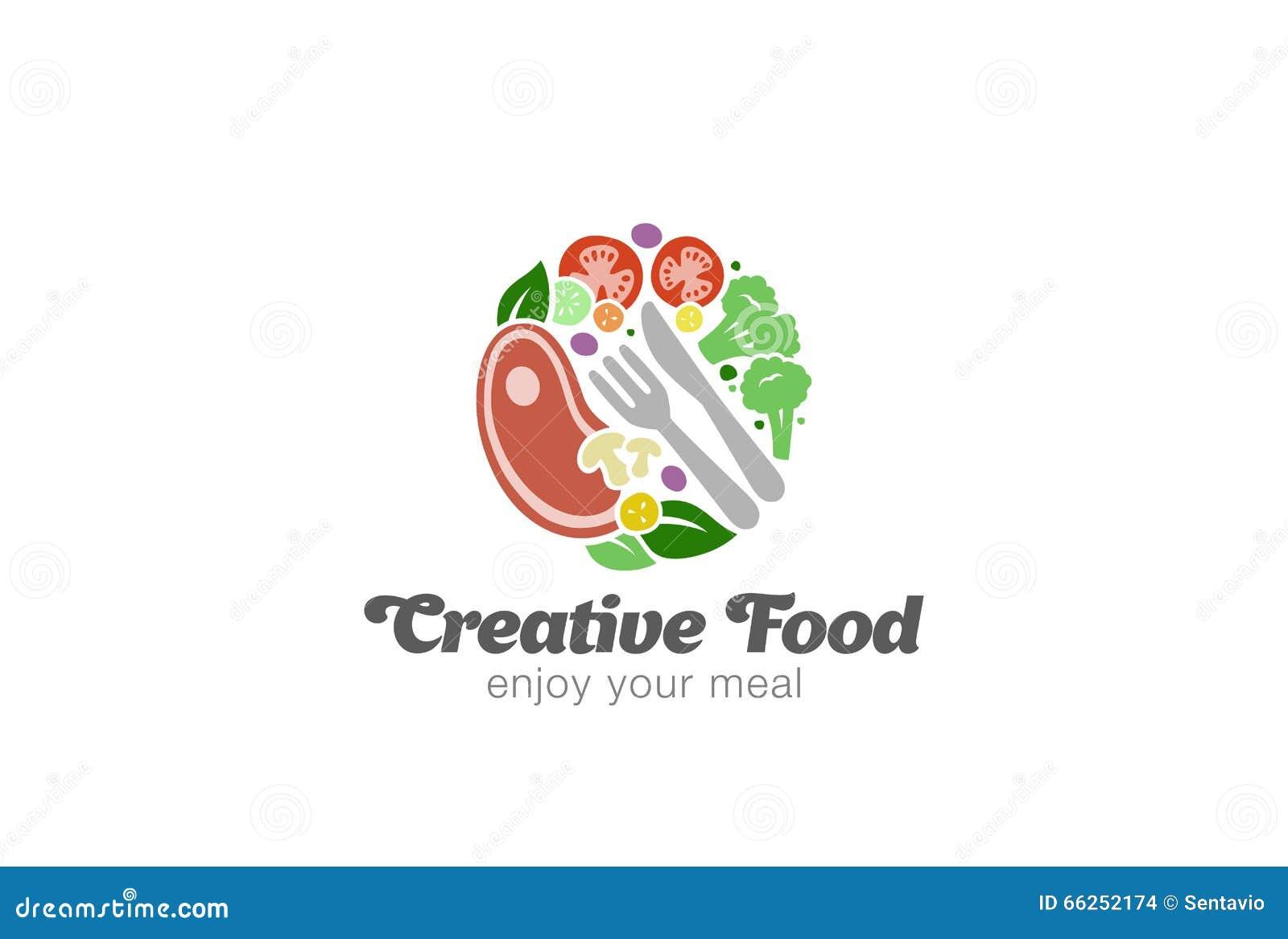 La carne y las verduras tradicionales en logotipo de la placa diseñan vector
