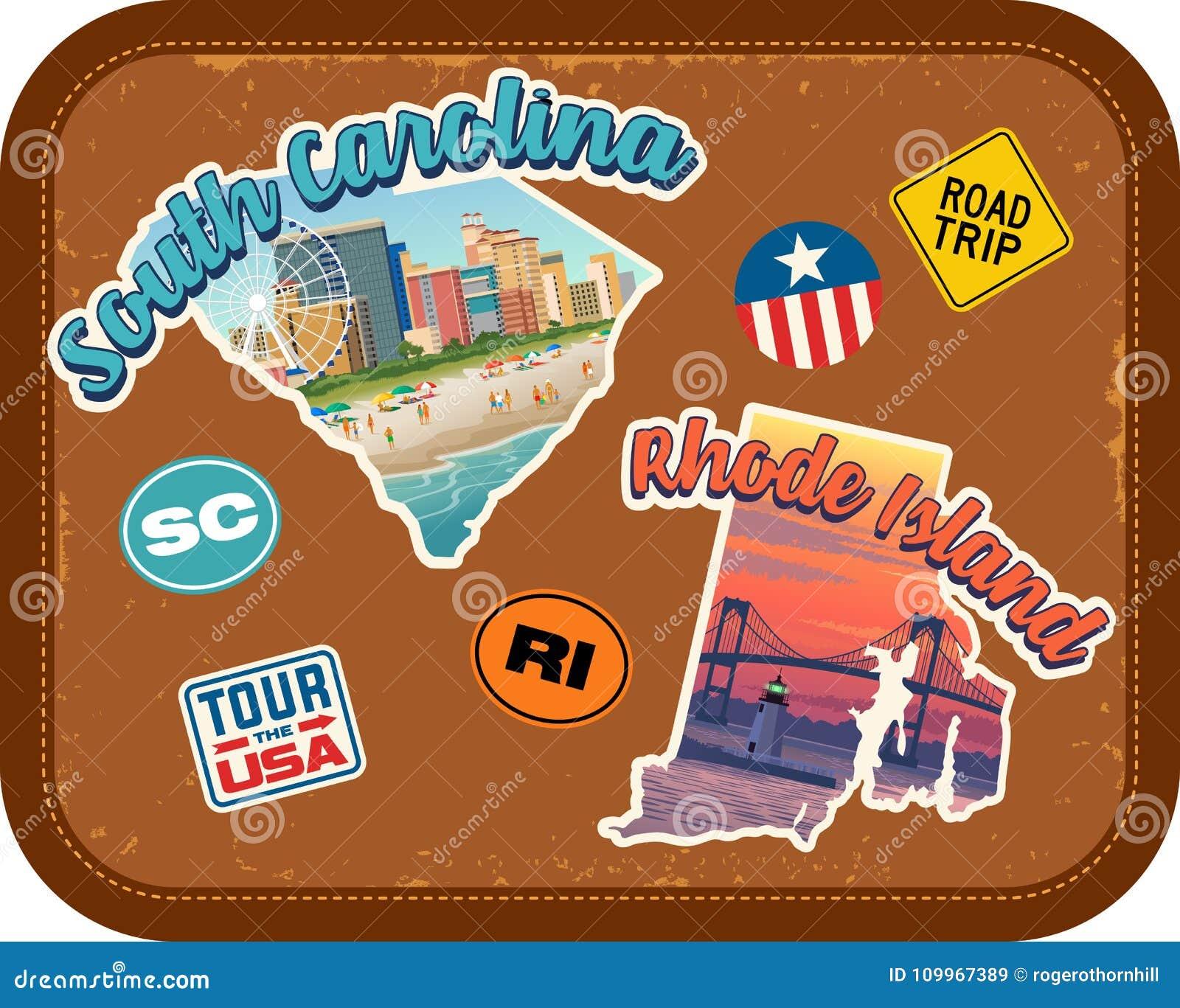 La Caroline du Sud, autocollants de voyage de Rhode Island avec les attractions scéniques