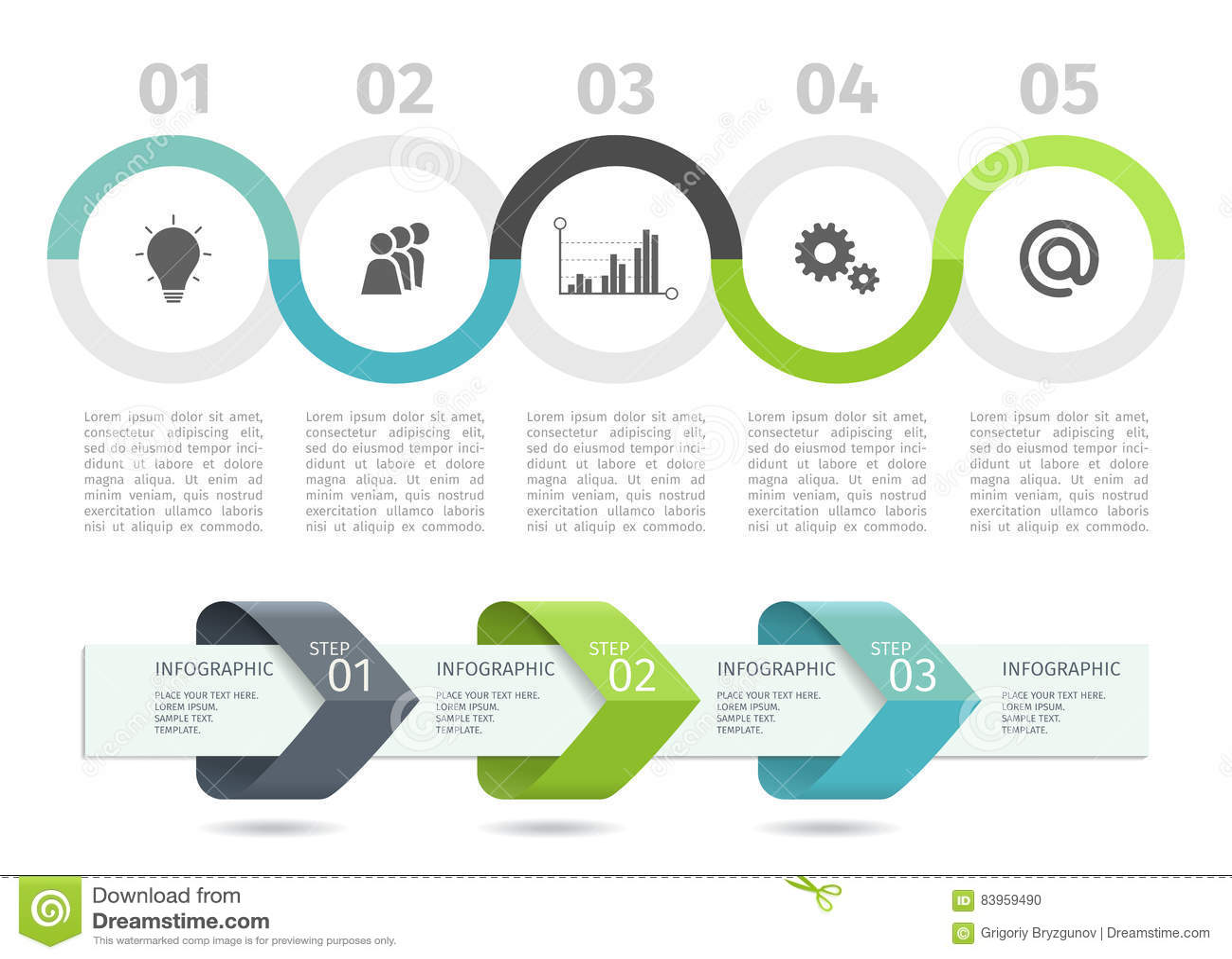 La carta de proceso y las flechas de Infographic con intensifican opciones Modelo del vector