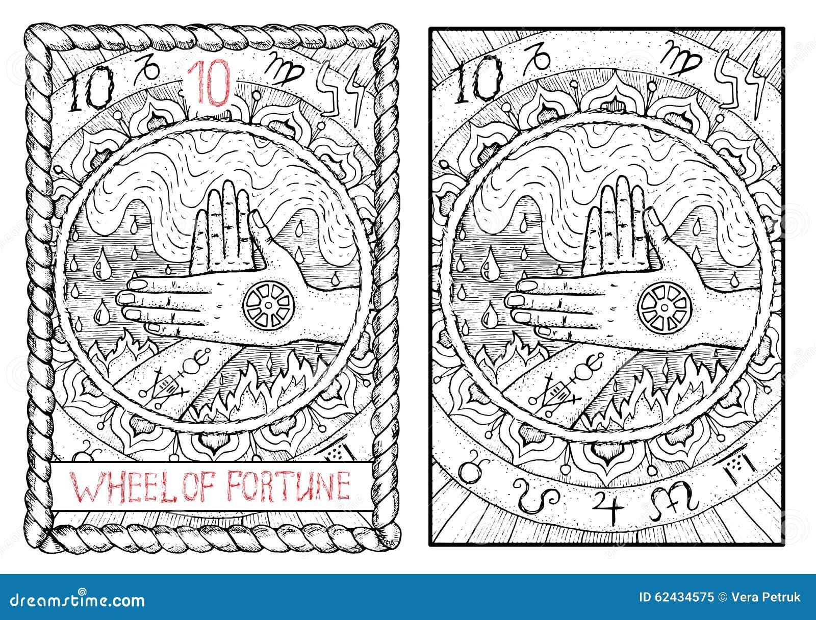 La carta de tarot principal de los arcana Rueda de la fortuna