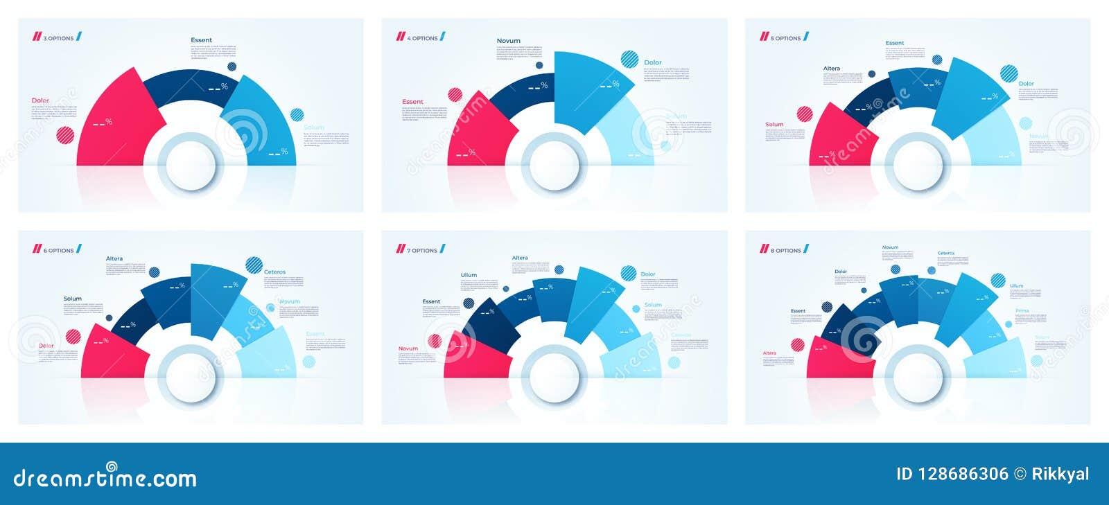 La carta del círculo del vector diseña, las plantillas para crear infographics