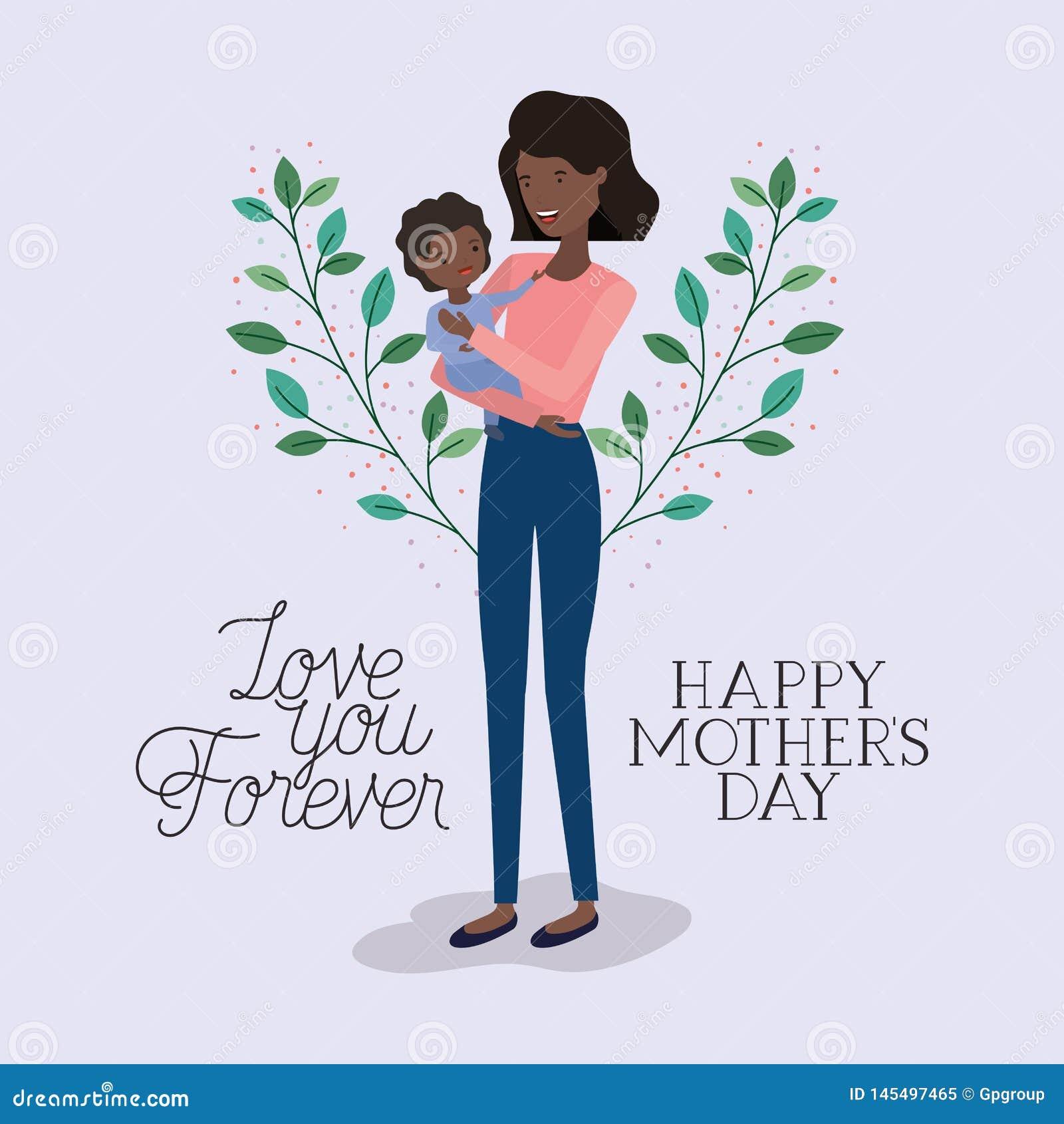 La carta del giorno di madri con le foglie nere della figlia e della madre incorona
