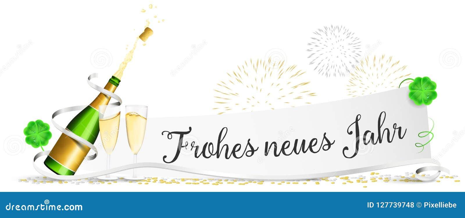 La carta del ` la s EVE del nuovo anno del buon anno con i vetri, i fuochi d artificio ed il trifoglio del champagne ha isolato i