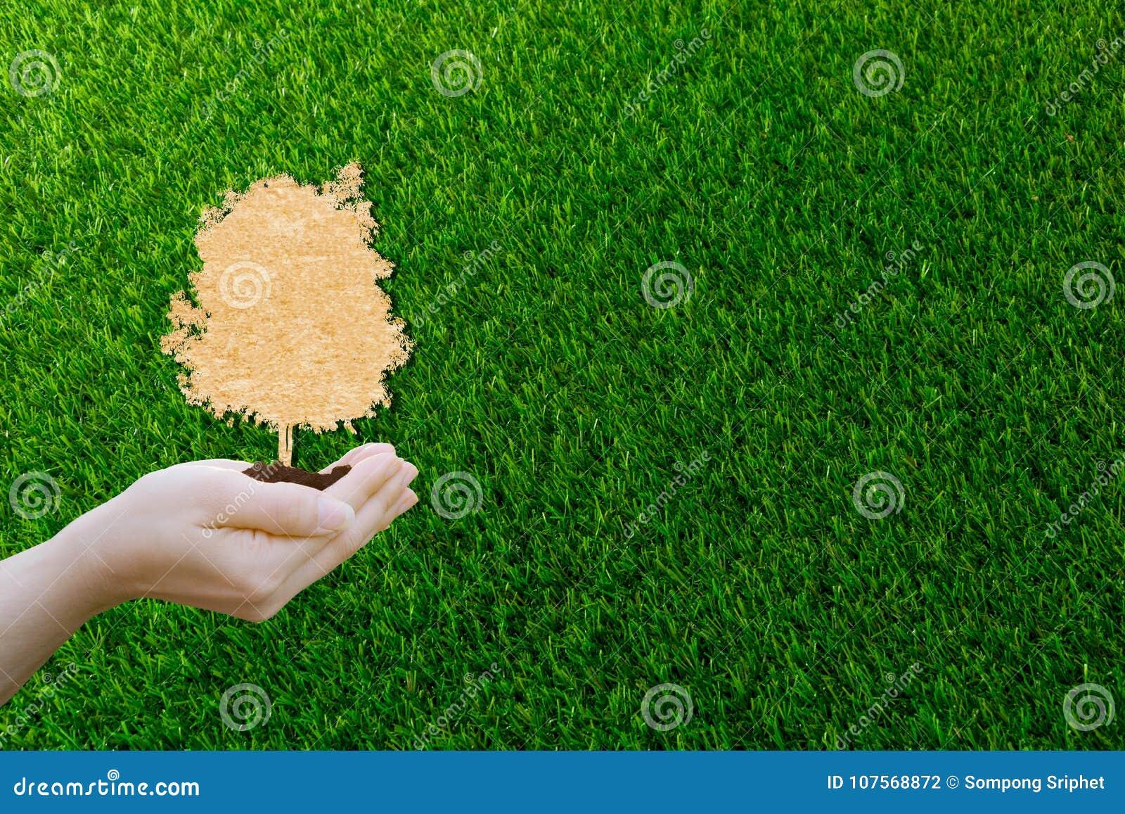 La carta di concetto dell ecologia ha tagliato le mani umane che tengono il grande albero della pianta con sull ambiente di mondo