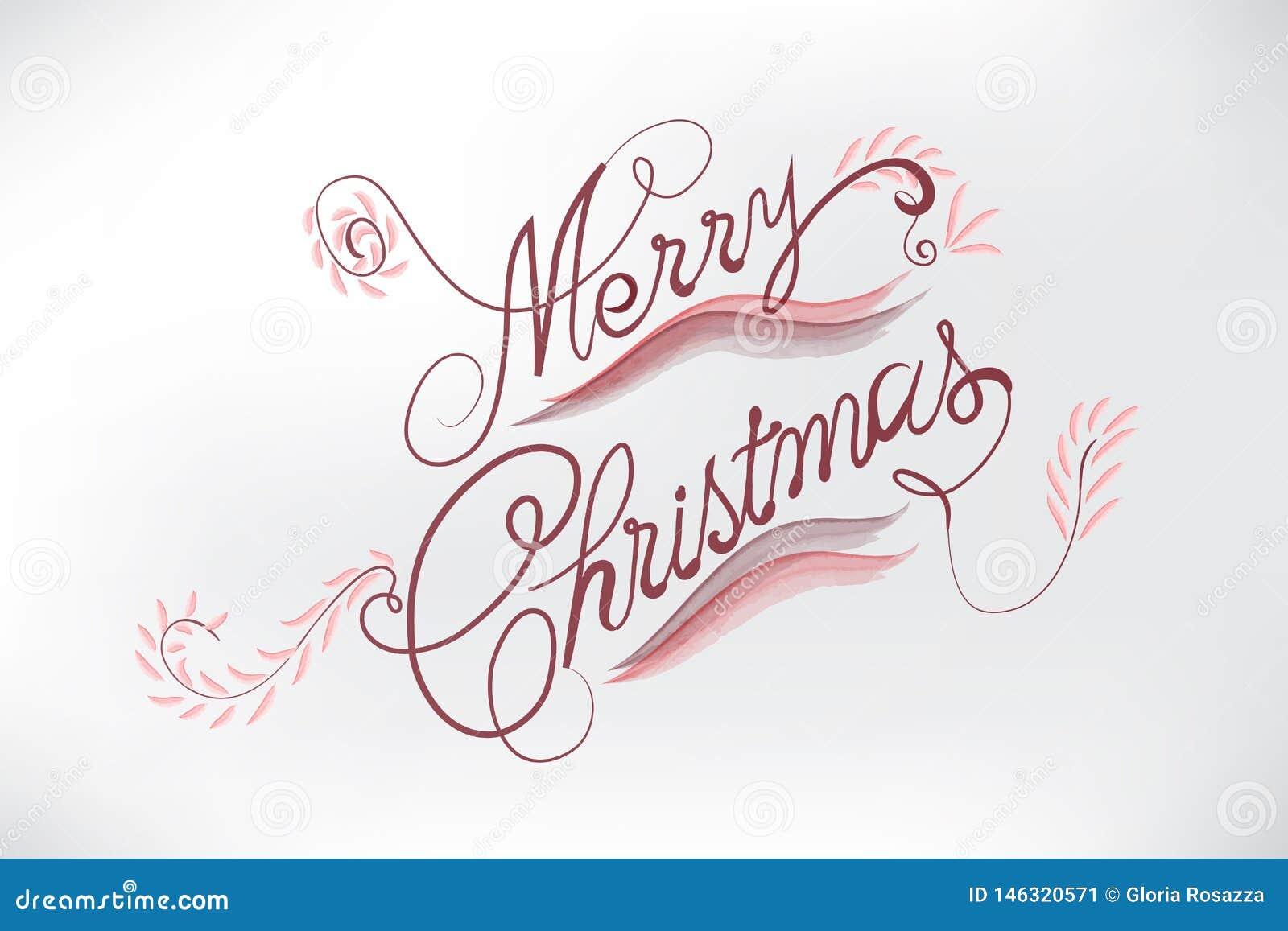 Parole Di Buon Natale.La Carta Floreale Di Buon Natale Ha Stilizzato Le Parole