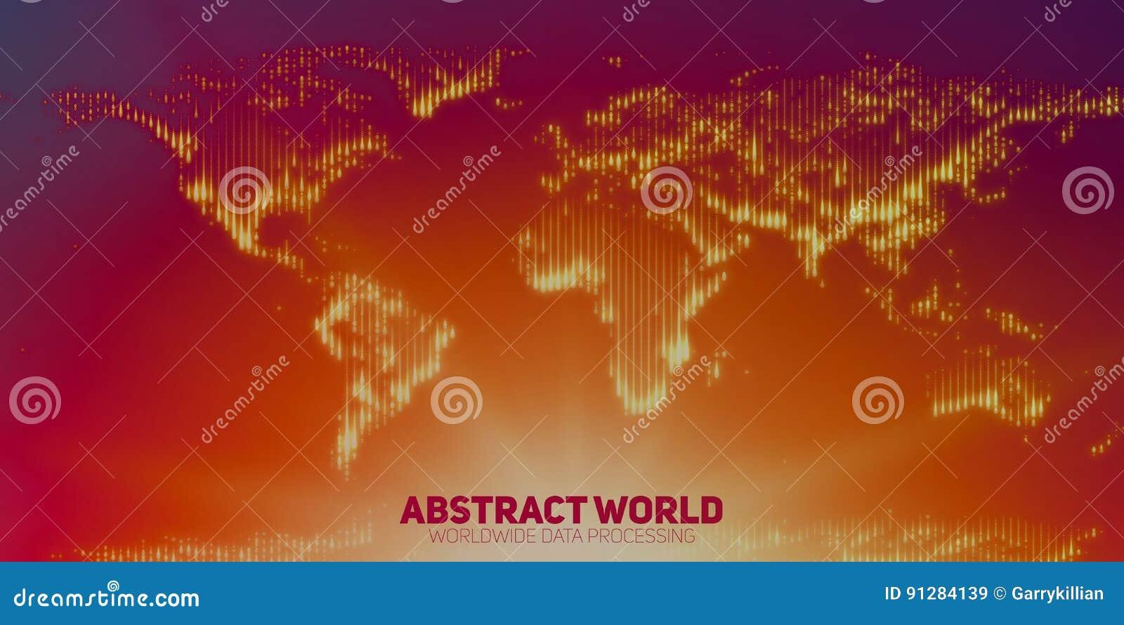 La carte abstraite du monde de vecteur construite avec de rougeoyer se dirige Continents avec une fusée au fond