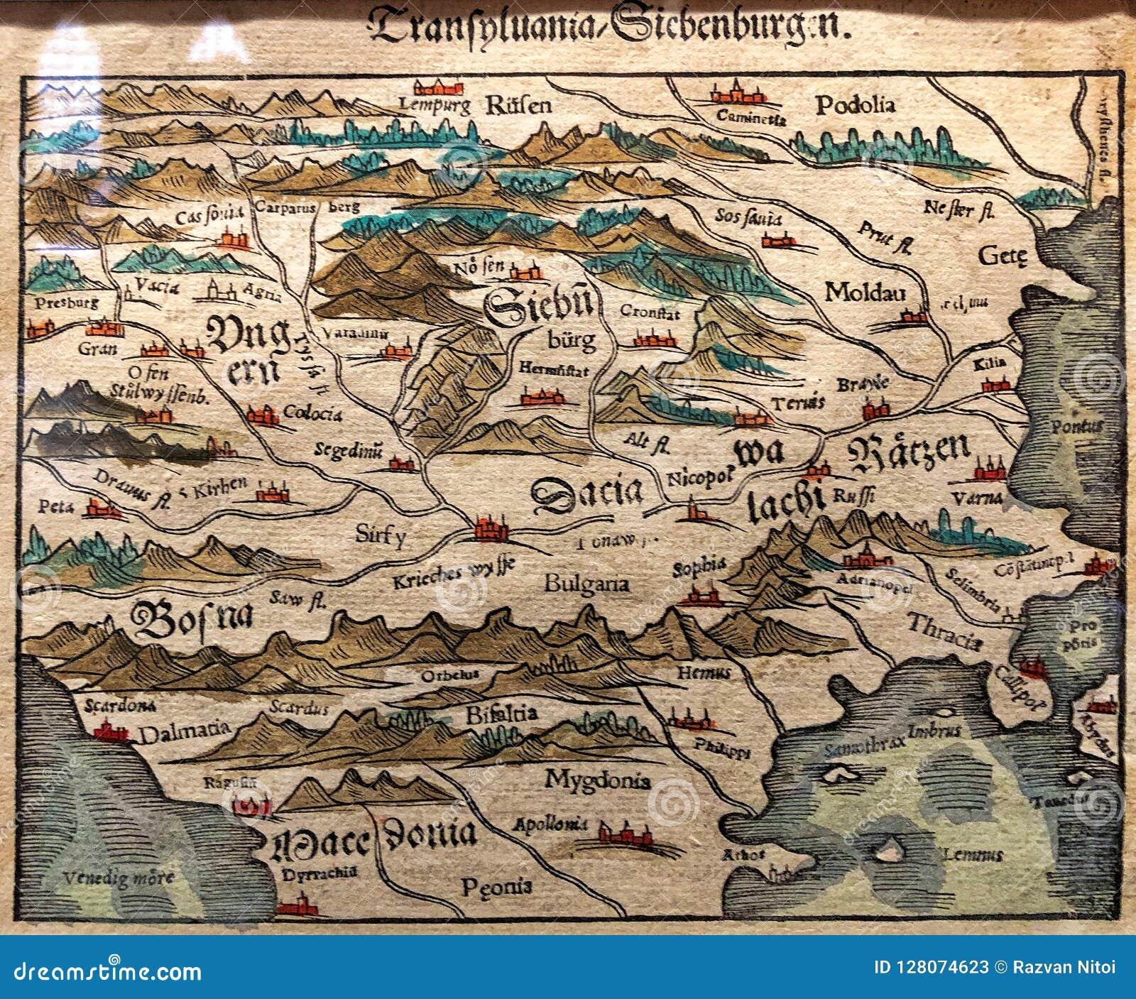 La Carte Antique De Leurope De Lest La Transylvanie Sont Image