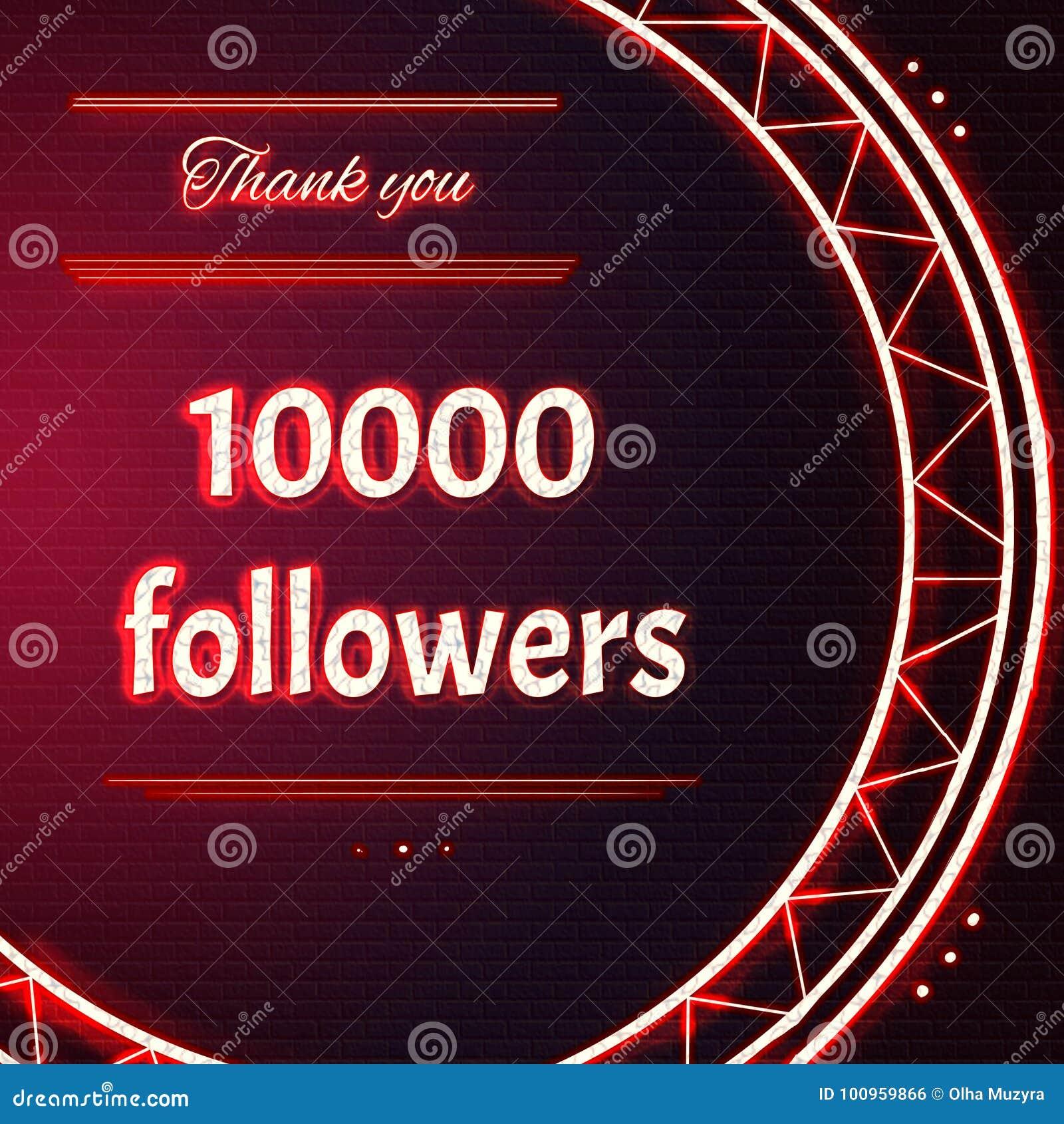 La carte avec le texte au néon rouge vous remercient des disciples des dix-millièmes 10000