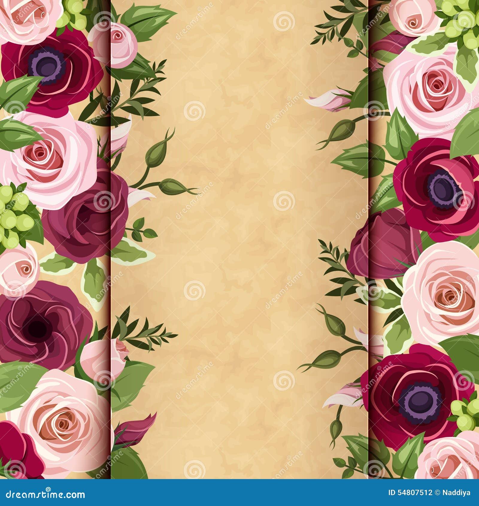 la carte d 39 invitation avec les roses les lisianthuses et. Black Bedroom Furniture Sets. Home Design Ideas