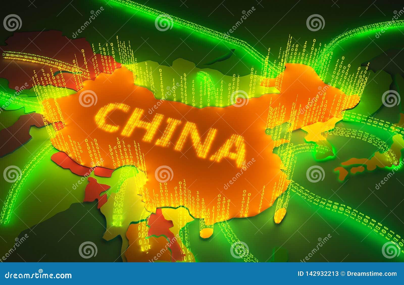 La carte de la Chine surronded par un pare-feu binaire