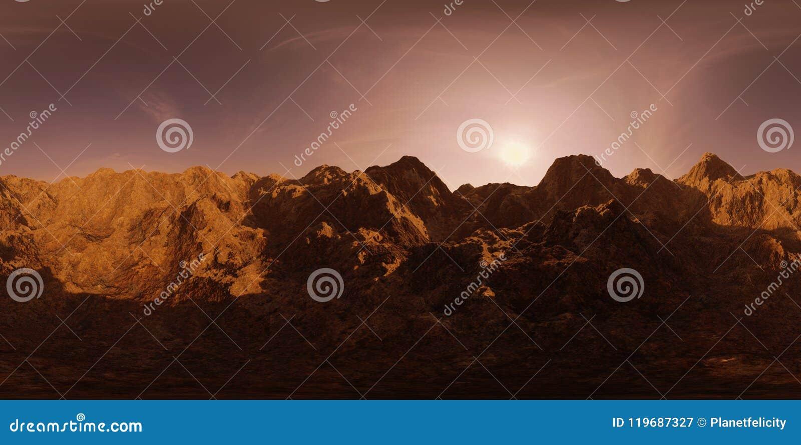 La carte de HDRI, fond sphérique de panorama d environnement avec la gamme de montagne à l aube, source lumineuse rendant 3d equi