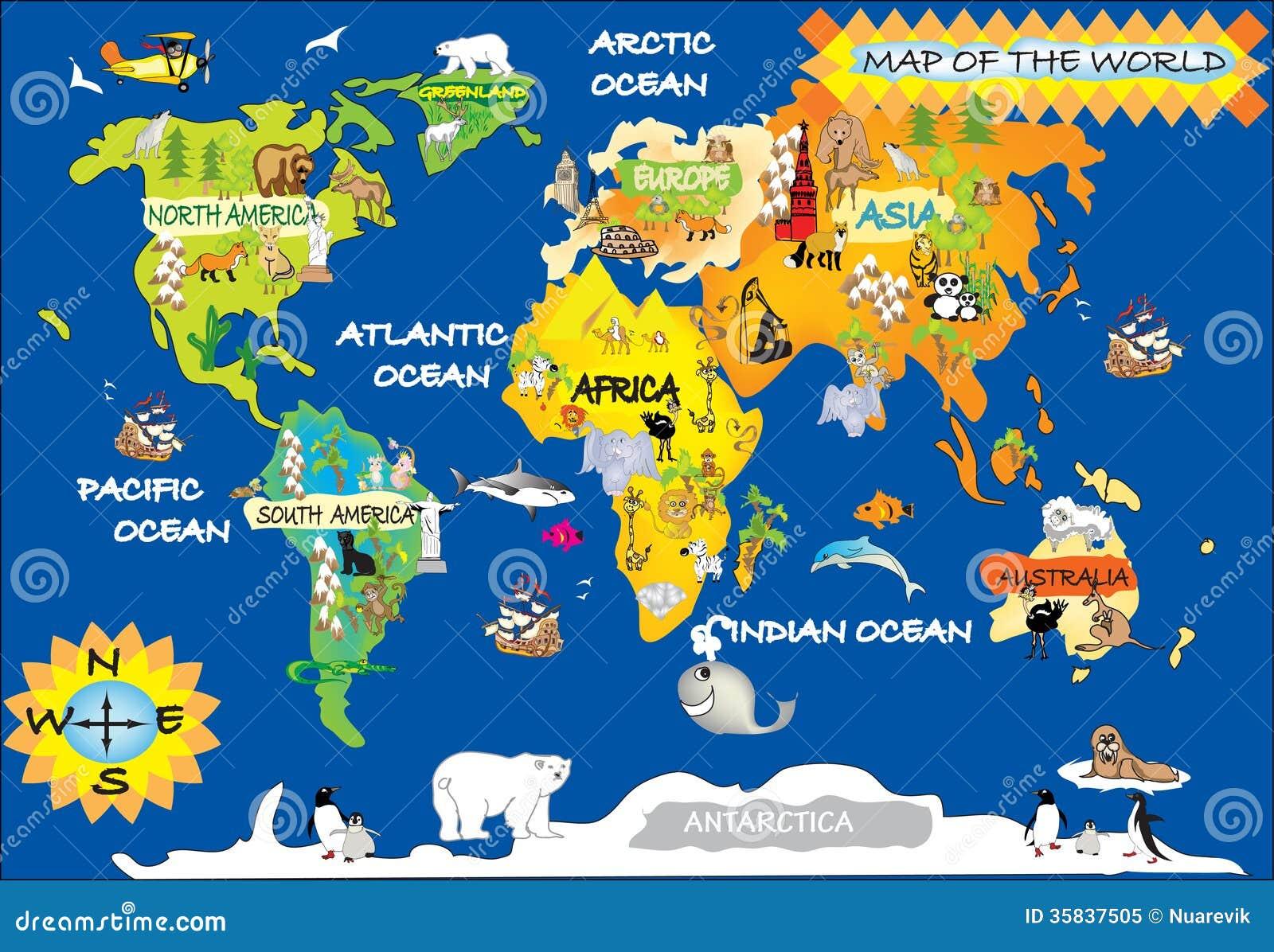 la carte de l 39 enfant du monde illustration stock illustration du dauphin arbre 35837505. Black Bedroom Furniture Sets. Home Design Ideas