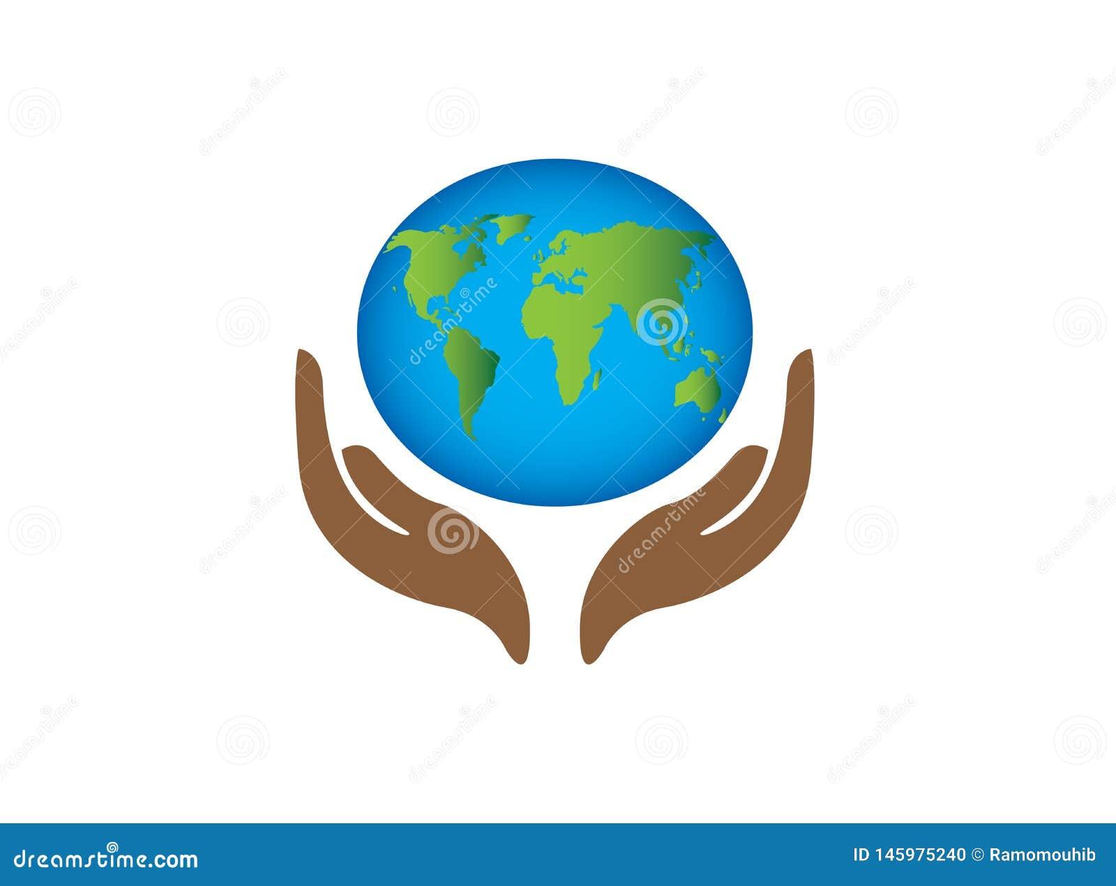 La carte de planète avec soin d envirenment du monde de mains pour le vecteur de conception de logo, protègent l icône de globe,