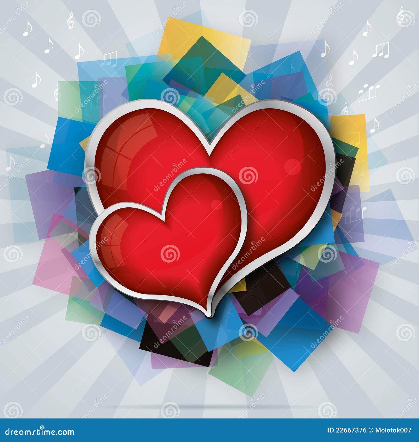 La carte de Valentine avec deux coeurs en verre rouges