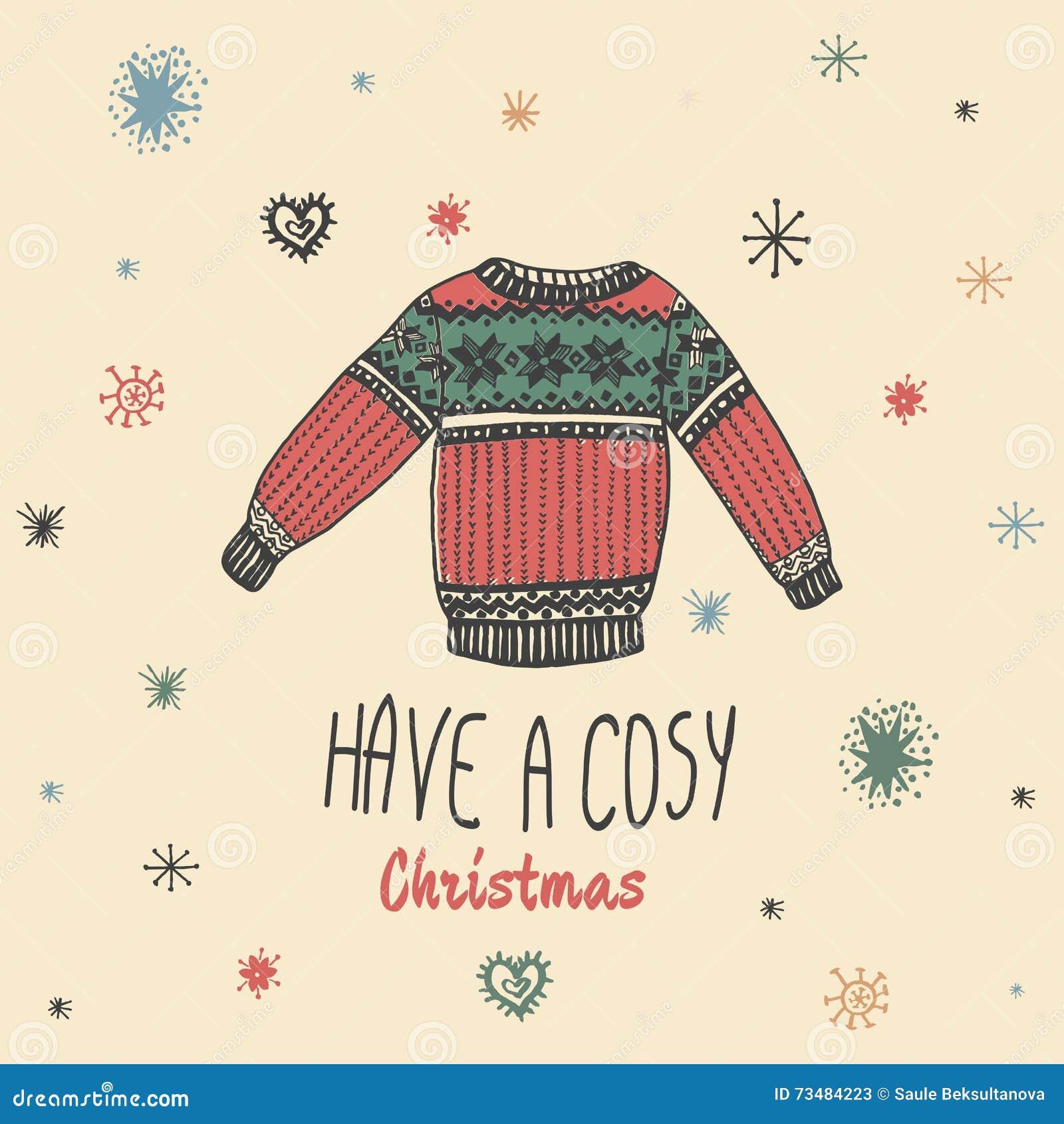 La carte de vintage de Noël avec avec le chandail tiré par la main et le texte  ont Noël confortable