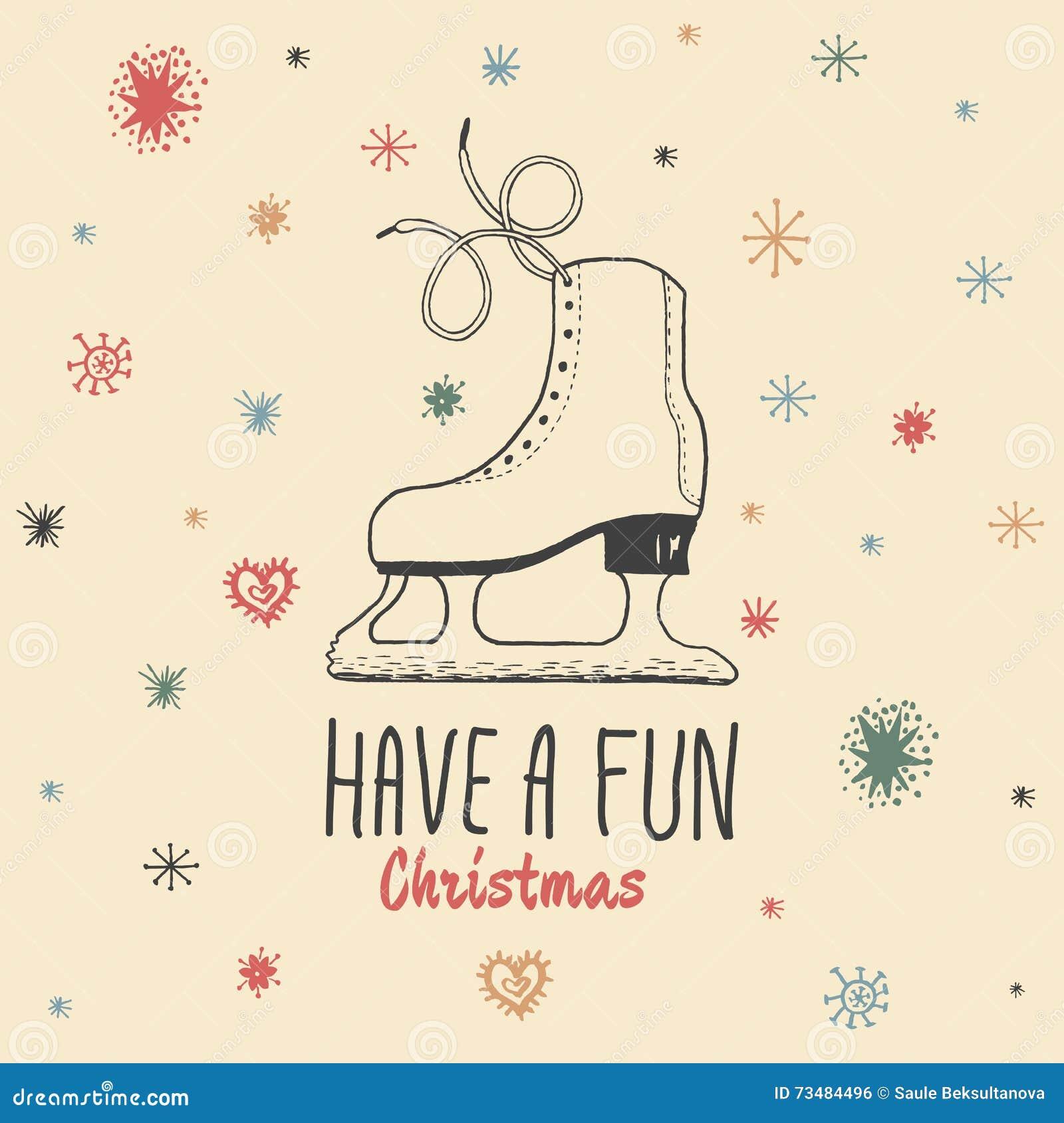 La carte de vintage de Noël avec avec les patins de glace tirés par la main et le texte  ont Noël d amusement