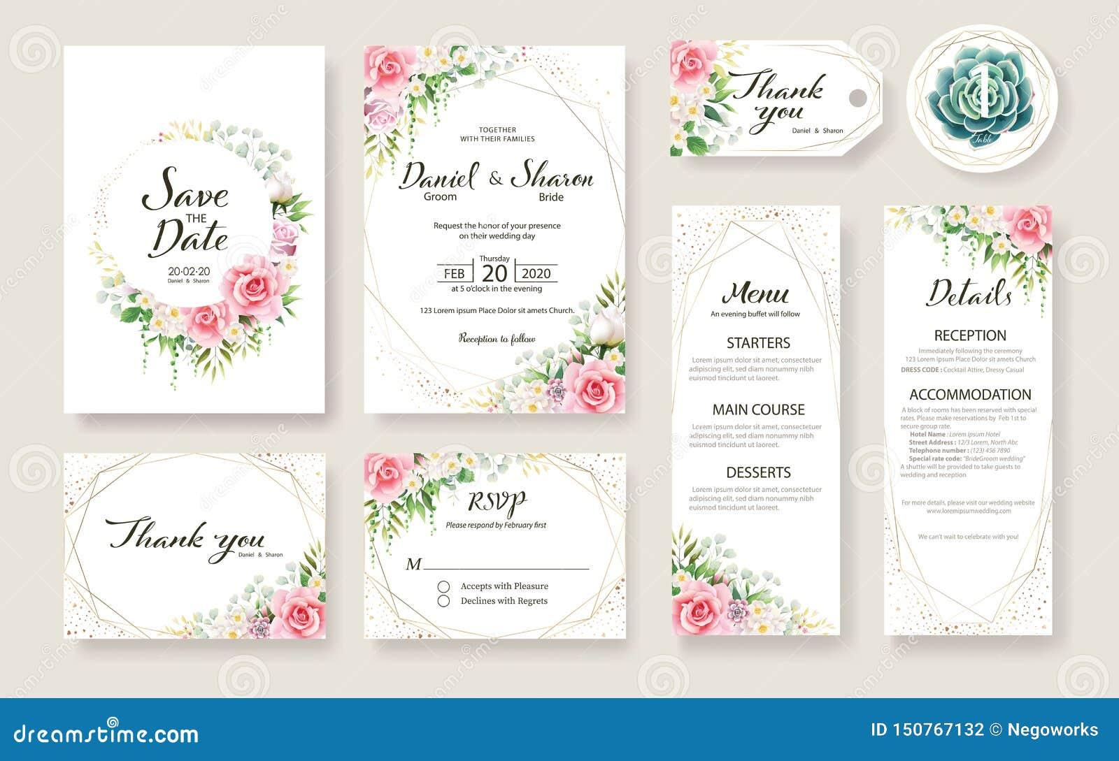 La carte l épousant florale d invitation, font gagner la date, merci, rsvp, label de table, calibre de tage Vecteur Fleur de Rose