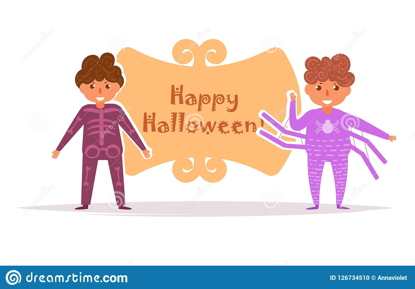 La carte postale avec des enfants dans Halloween costume le vecteur cartoon D isolement