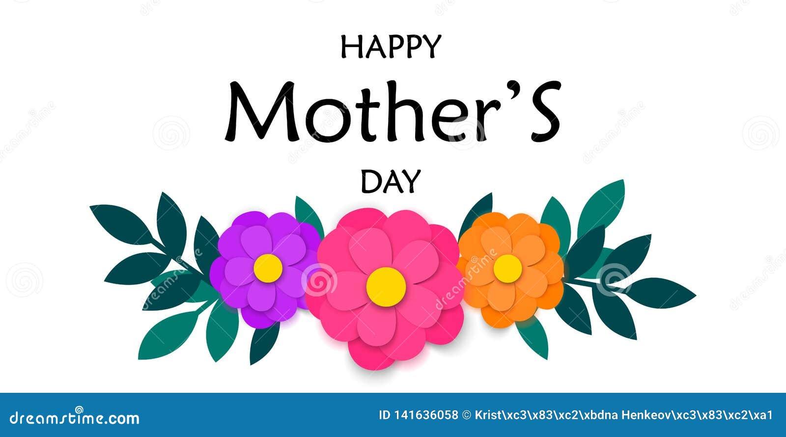 La cartolina d auguri del giorno di madri con carta variopinta ha tagliato i fiori e la ghirlanda delle foglie verdi isolata su f