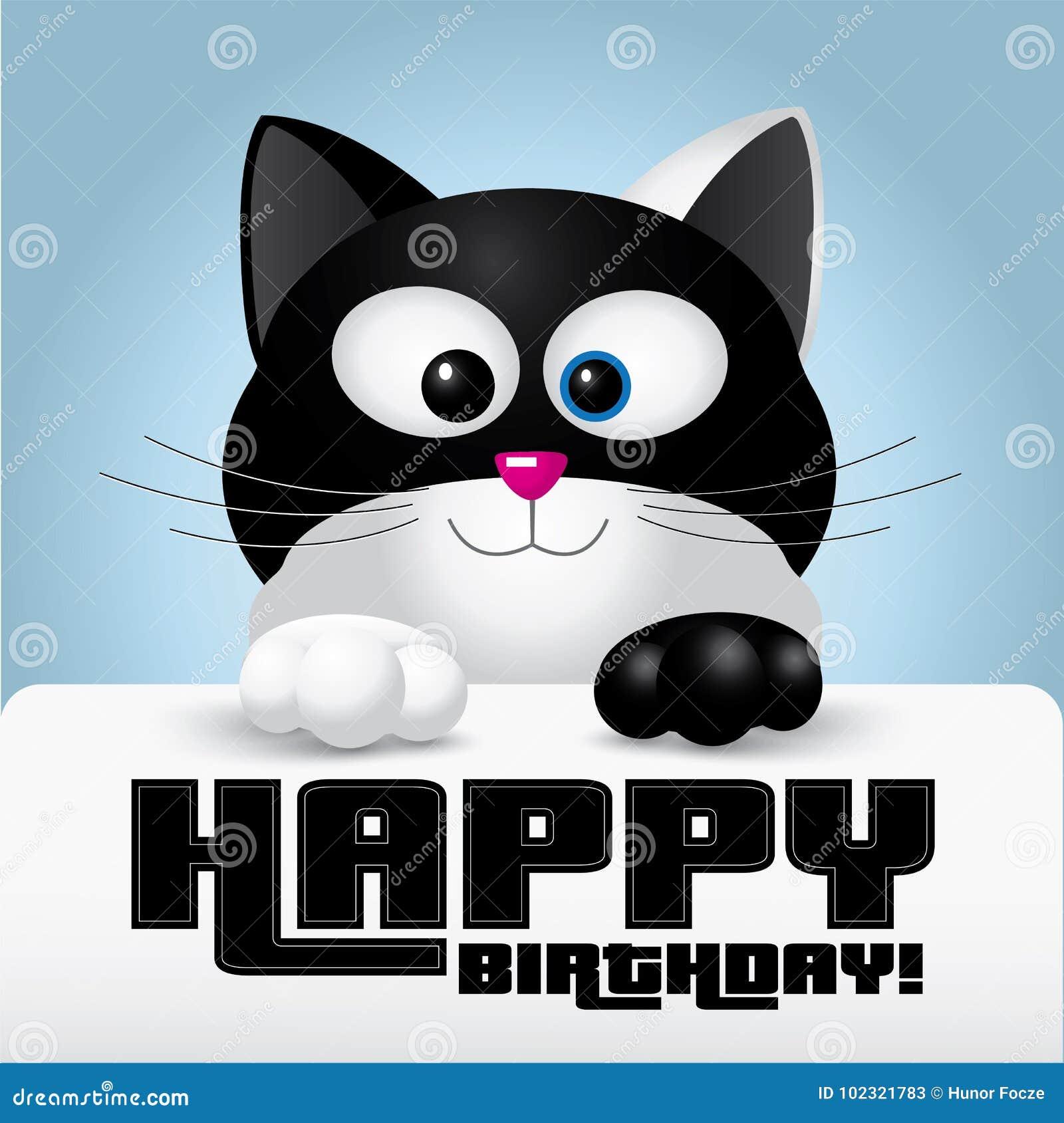 La Cartolina D'auguri Di Buon Compleanno Ha Tenuto Da Un Gatto In