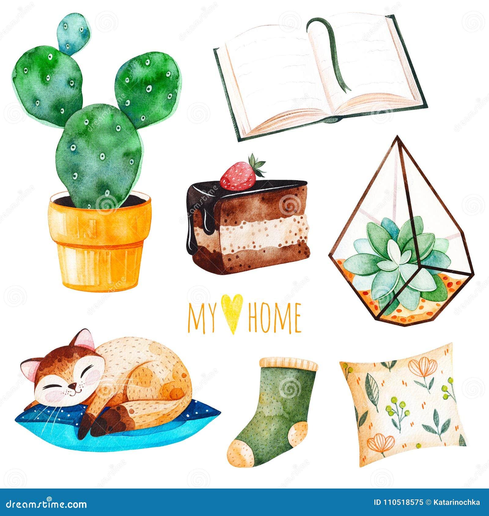 La casa accogliente ha messo con le piante di una casa, gattino sveglio di sonno, prenota, dolce saporito, cuscino
