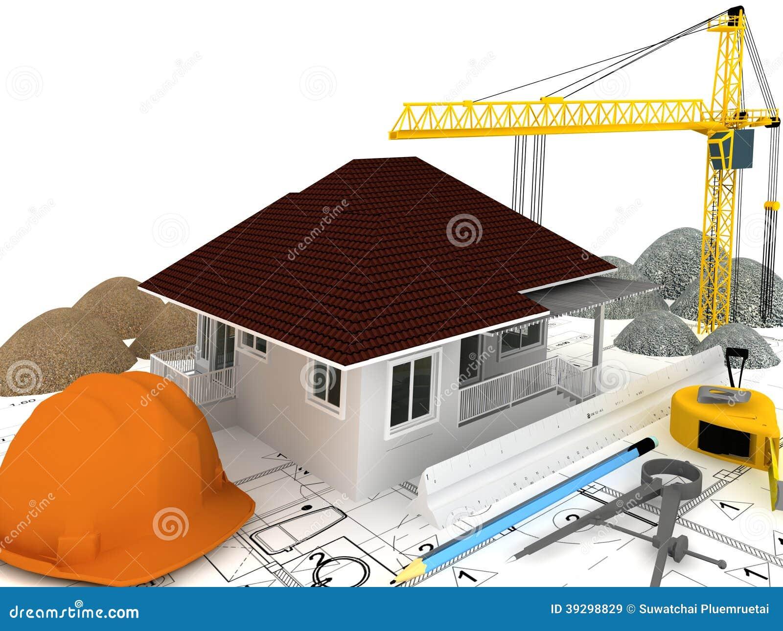 La casa bajo construcci n 3d rinde stock de ilustraci n - La casa de la construccion ...