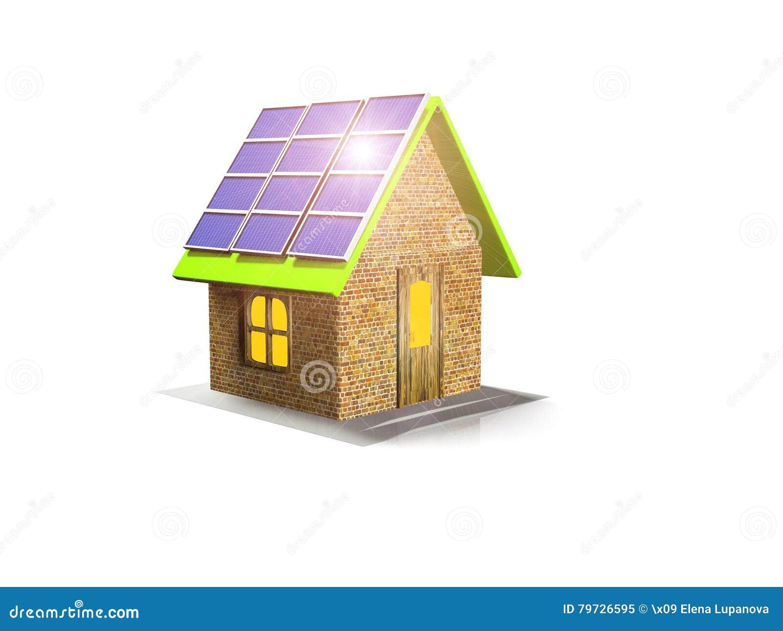 La casa con los paneles solares, 3d rinde