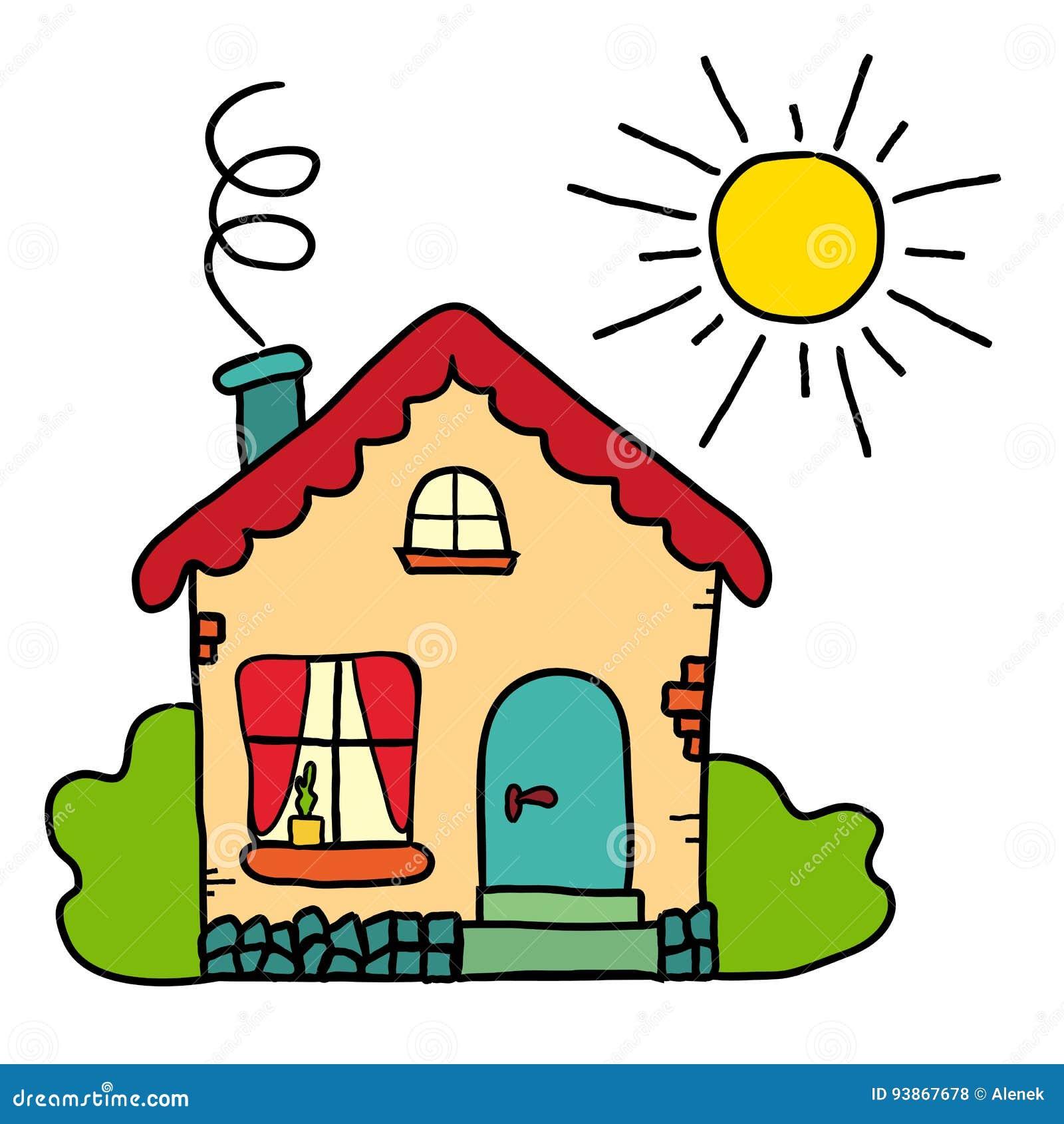 La Casa De Campo Hecha A Mano Del Dibujo Sol Del Verano Ilustración