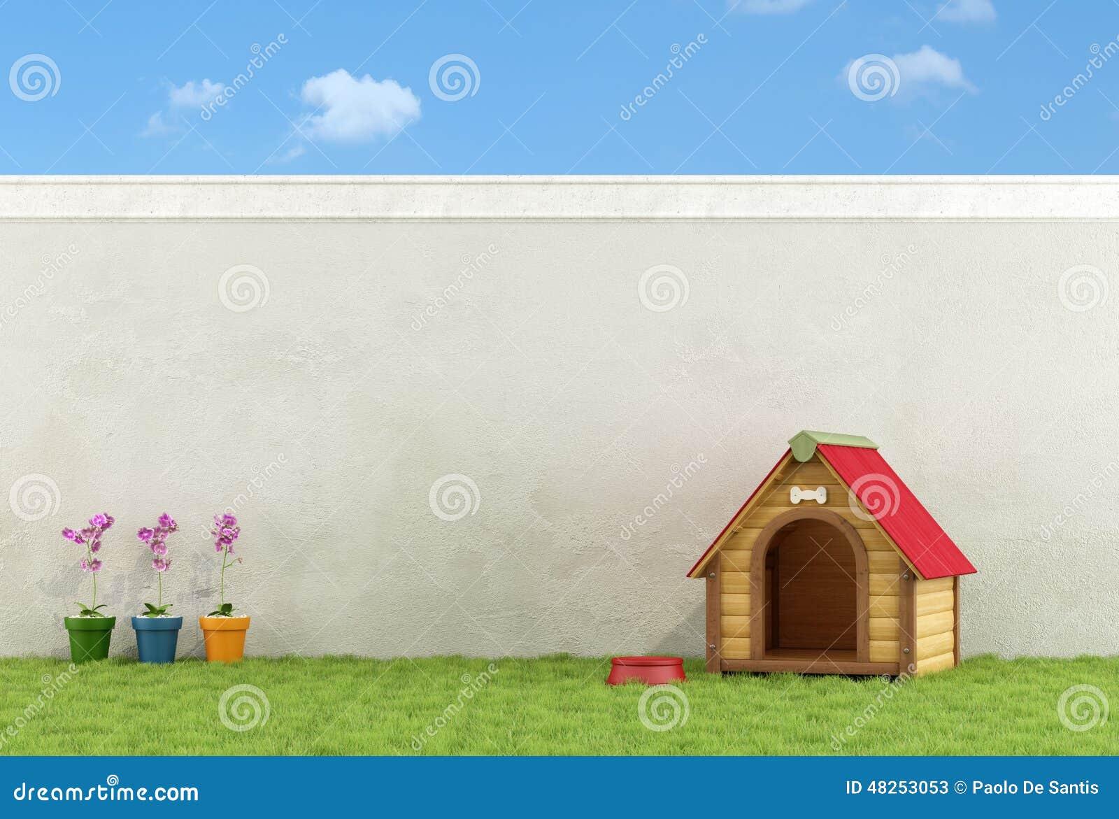 La casa de perro en el jard n stock de ilustraci n for Ahuyentar perros del jardin