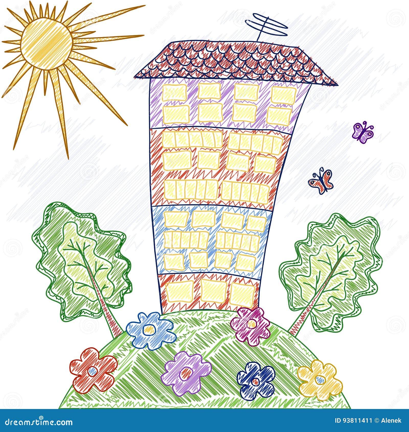 La Casa Del Dibujo Del S De Los Niños Flores árboles Hierba