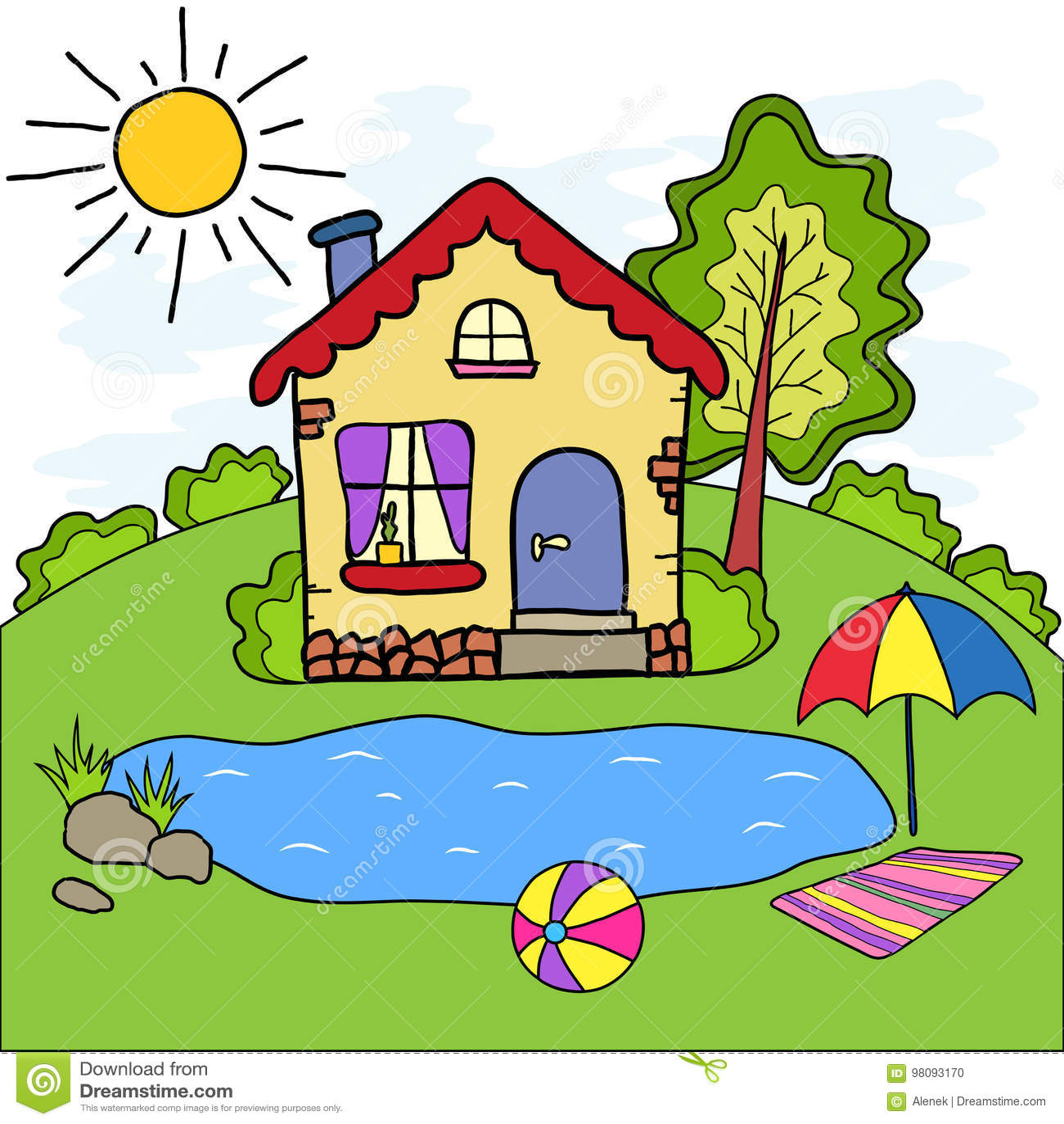 La casa di campagna ed il lago fatti a mano di estate del for Lago disegno