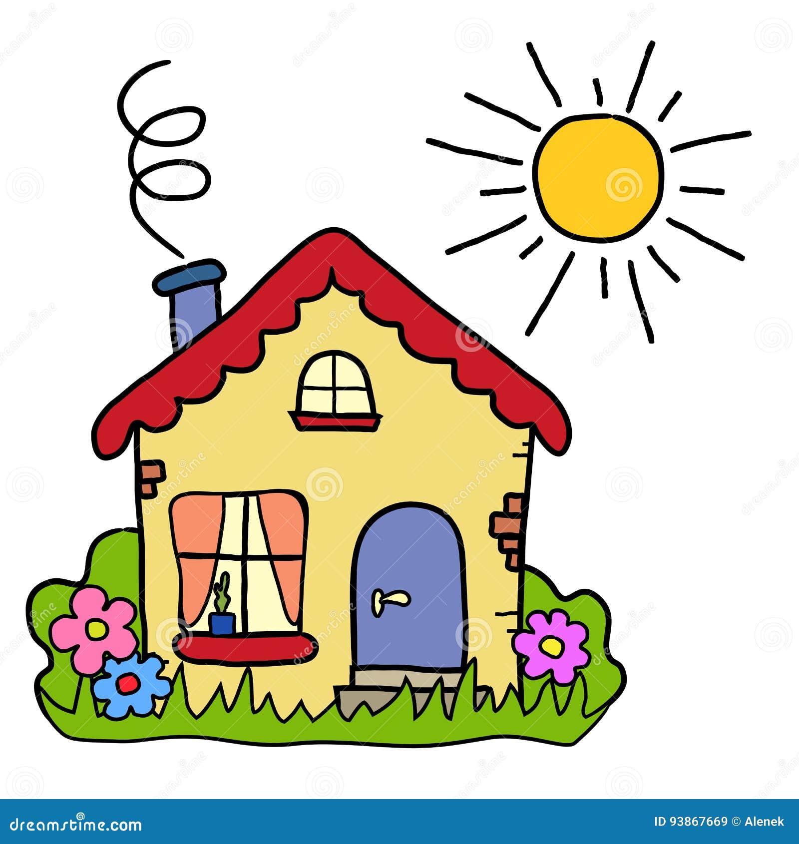La casa di campagna fatta a mano del disegno sole di for Casa disegno