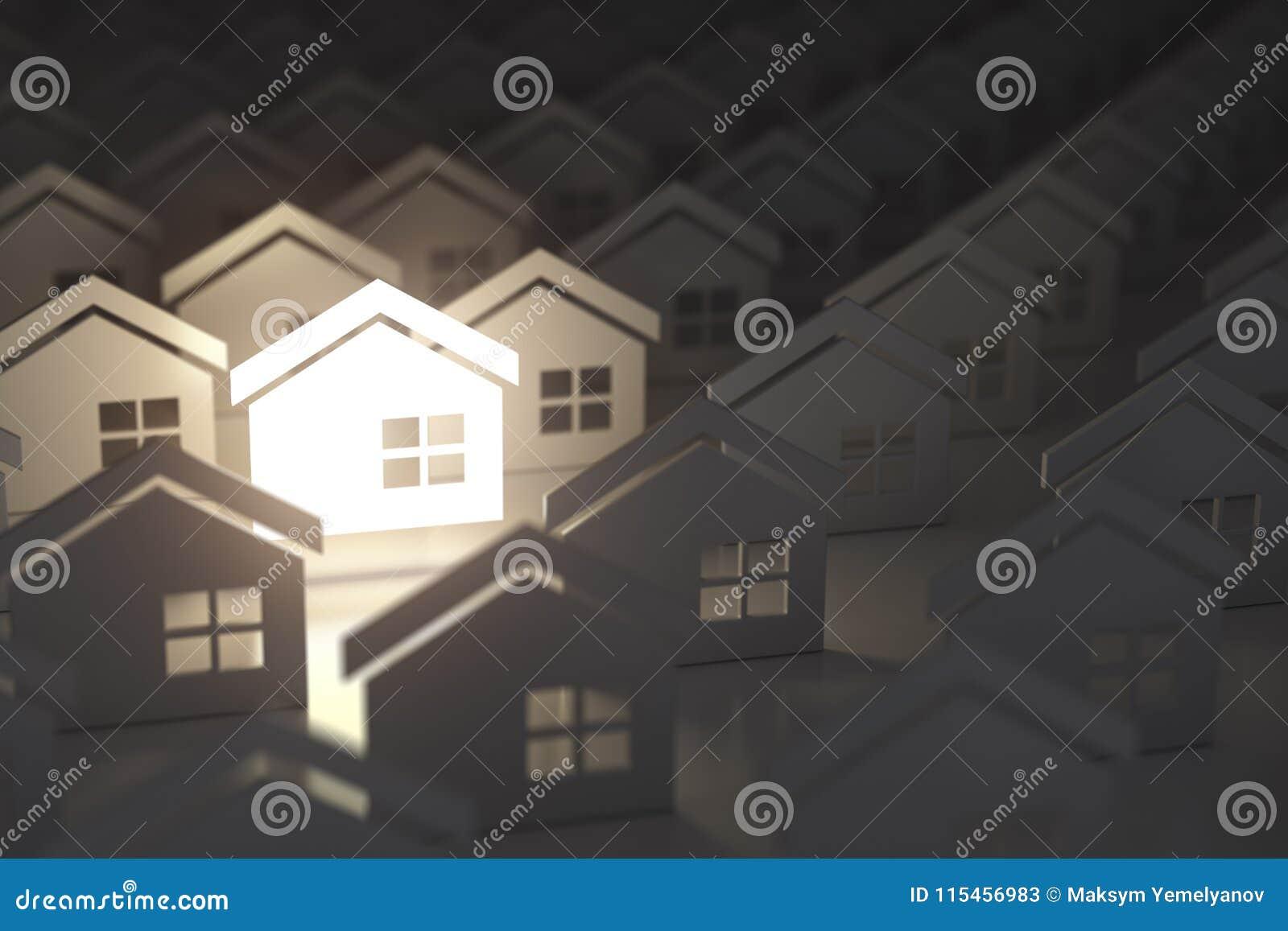 La casa di illuminazione unica firma dentro il gruppo di case