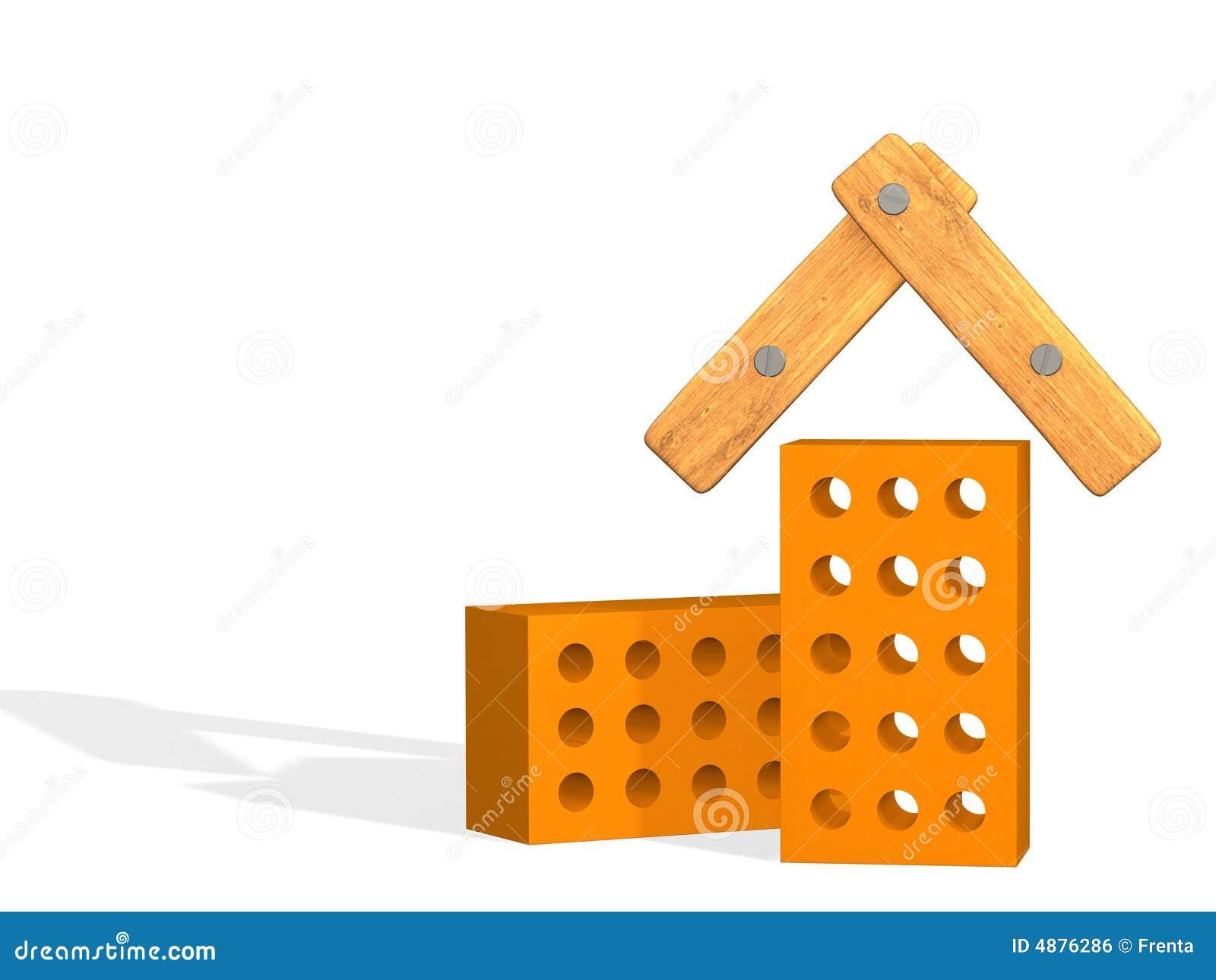 La casa estilizada a partir de dos ladrillos 3d